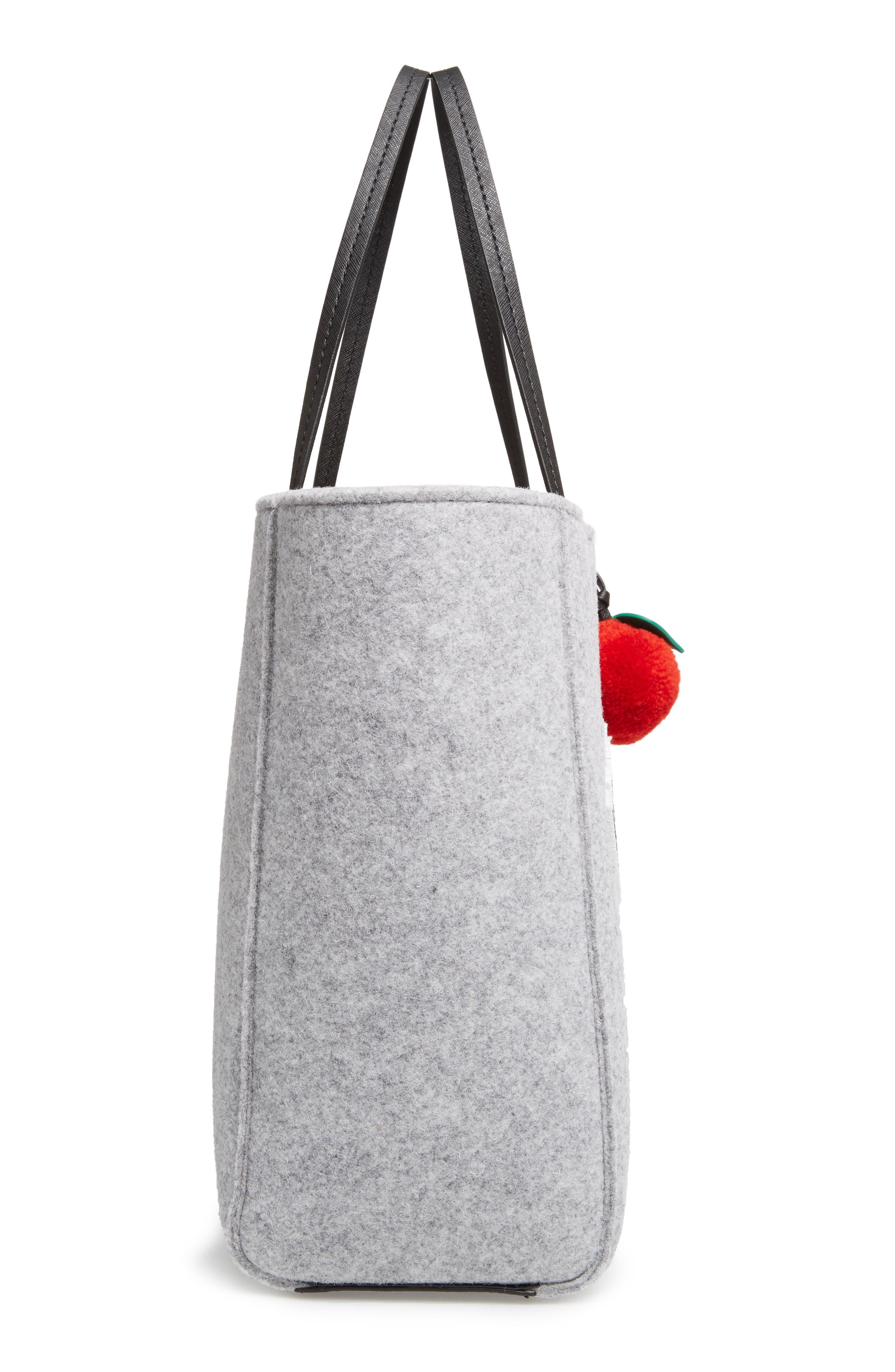 nouveau york - hallie flannel tote & apple pom bag charm,                             Alternate thumbnail 4, color,                             Light Charcoal