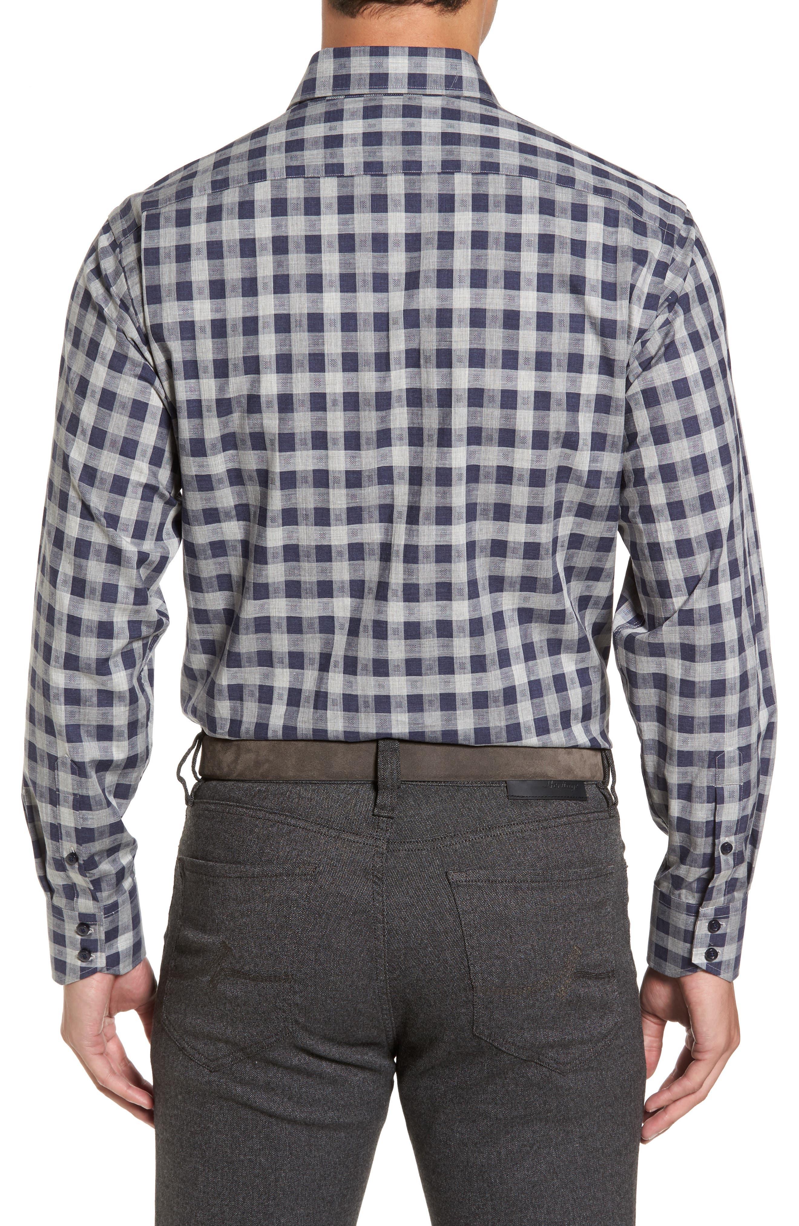 Regular Fit Check Sport Shirt,                             Alternate thumbnail 2, color,                             Navy