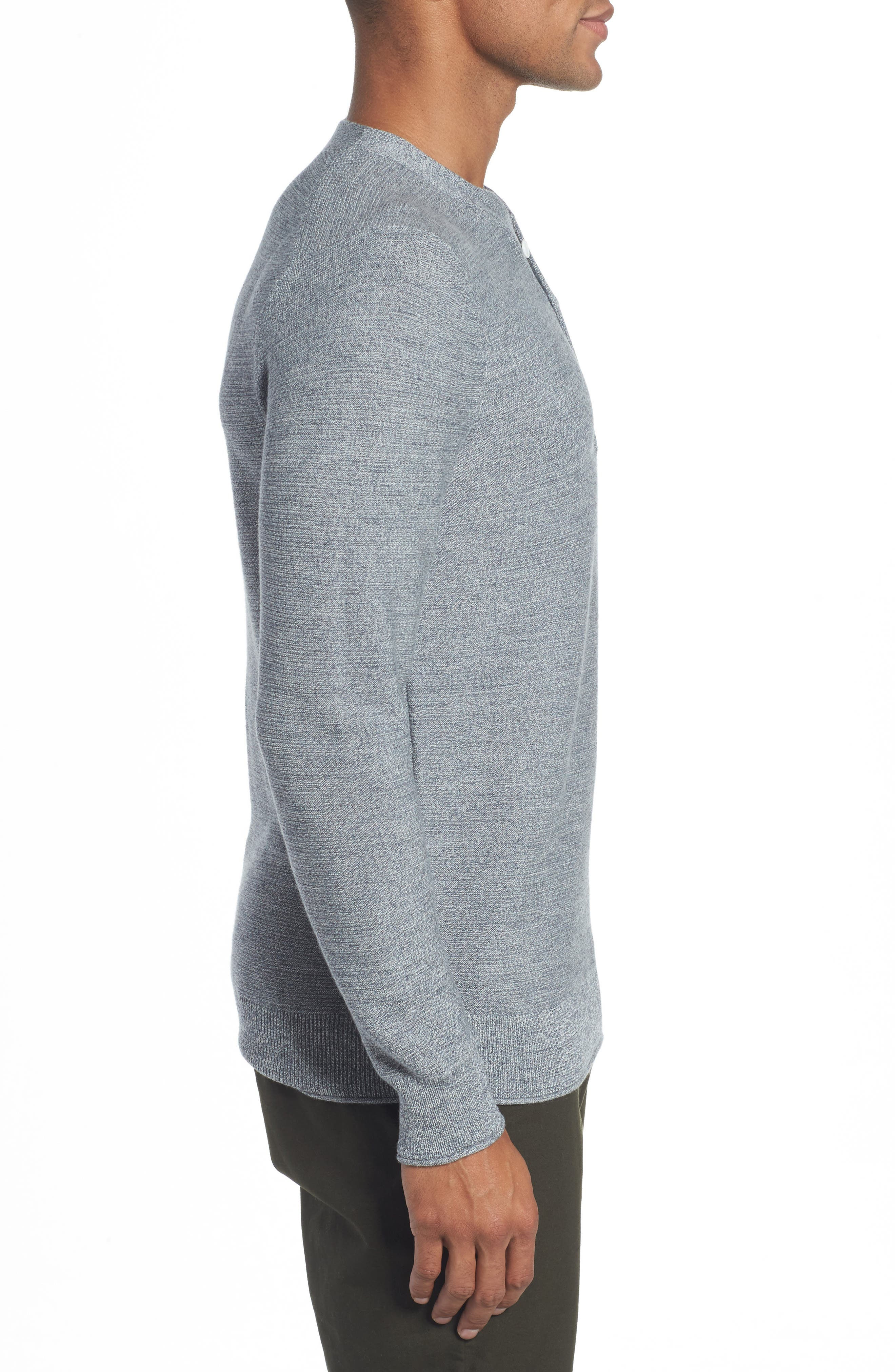 Merino Wool Knit Henley,                             Alternate thumbnail 3, color,                             Heather Grey