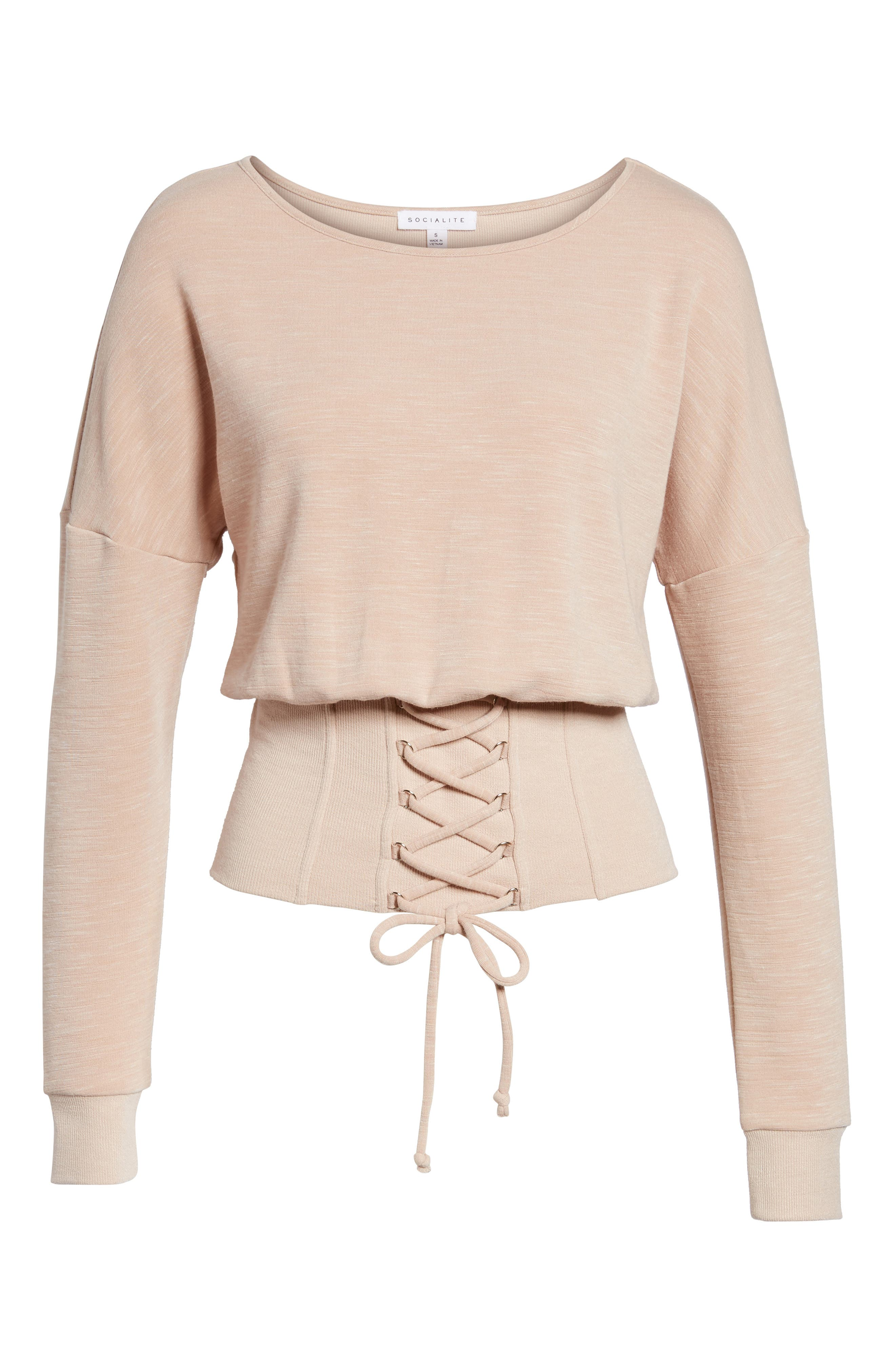 Corset Sweatshirt,                             Alternate thumbnail 6, color,                             Blush