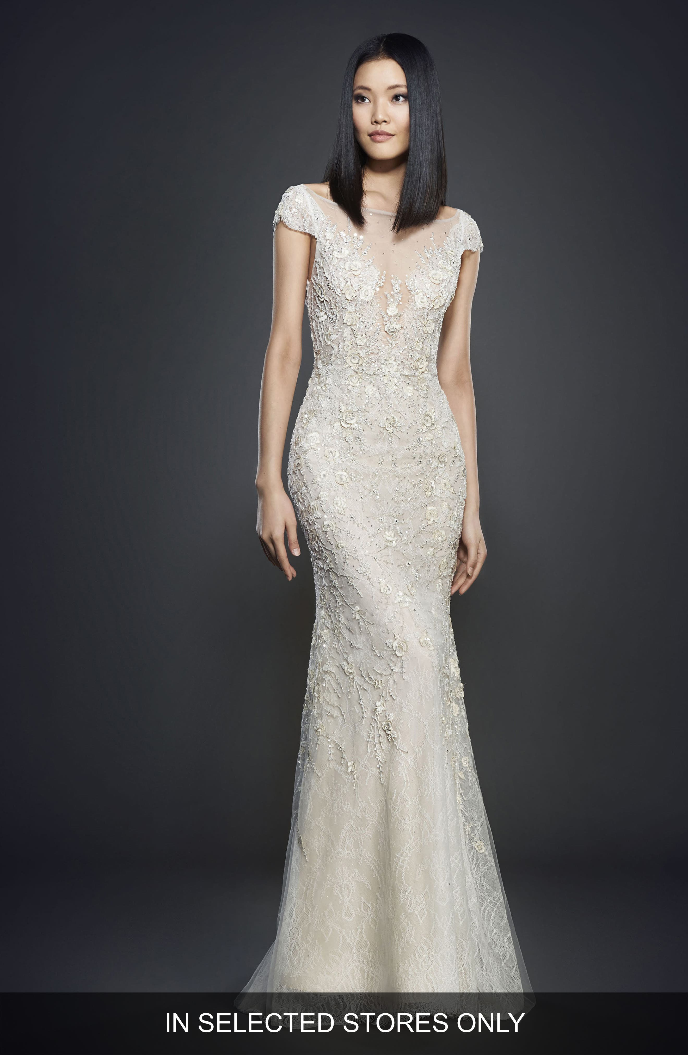 Embellished Lace Cap Sleeve Gown,                         Main,                         color, Ivory/ Cashmere