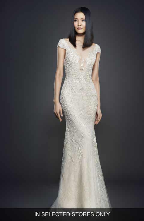 Lazaro Embellished Lace Cap Sleeve Gown