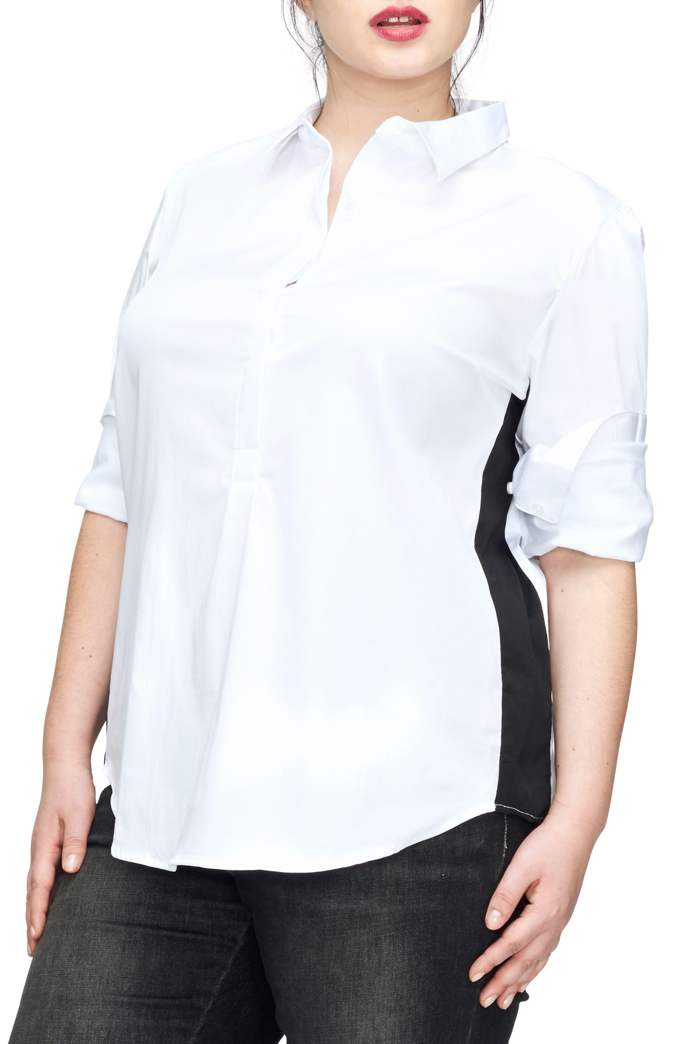 Alternate Image 1 Selected - UNIVERSAL STANDARD Ebro Colorblock Shirt (Plus Size)