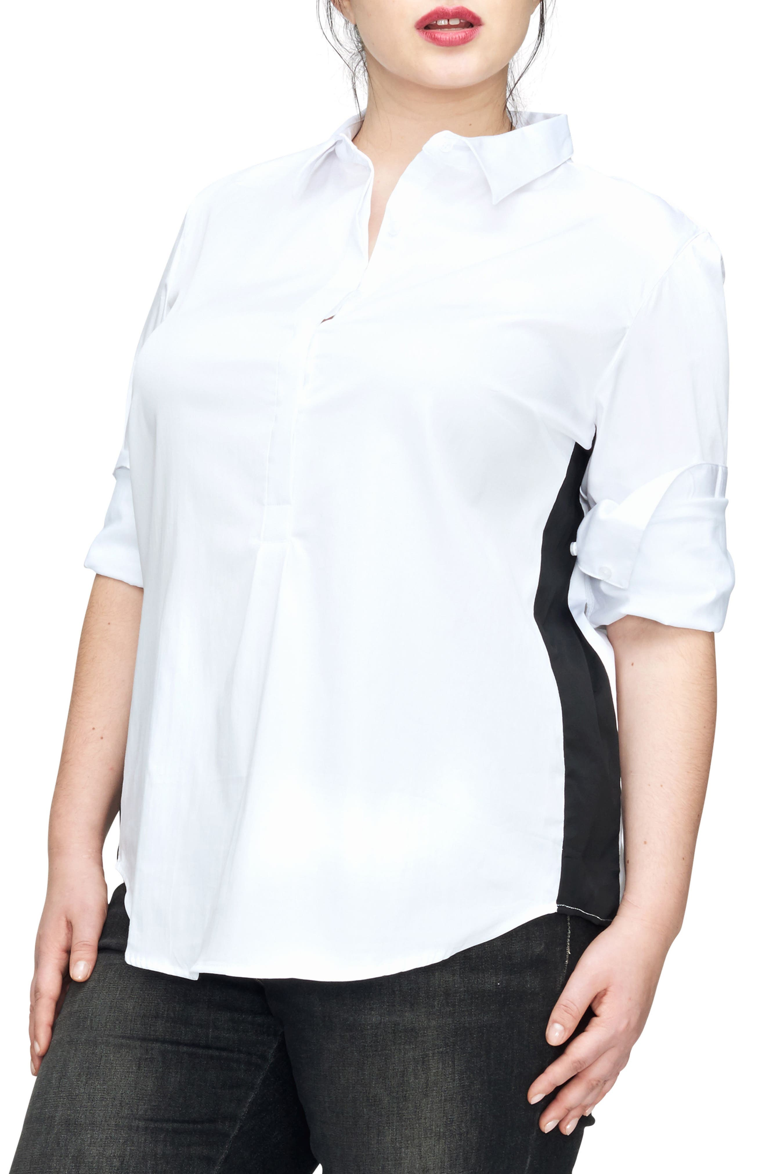 Ebro Colorblock Shirt,                         Main,                         color, White/ Black