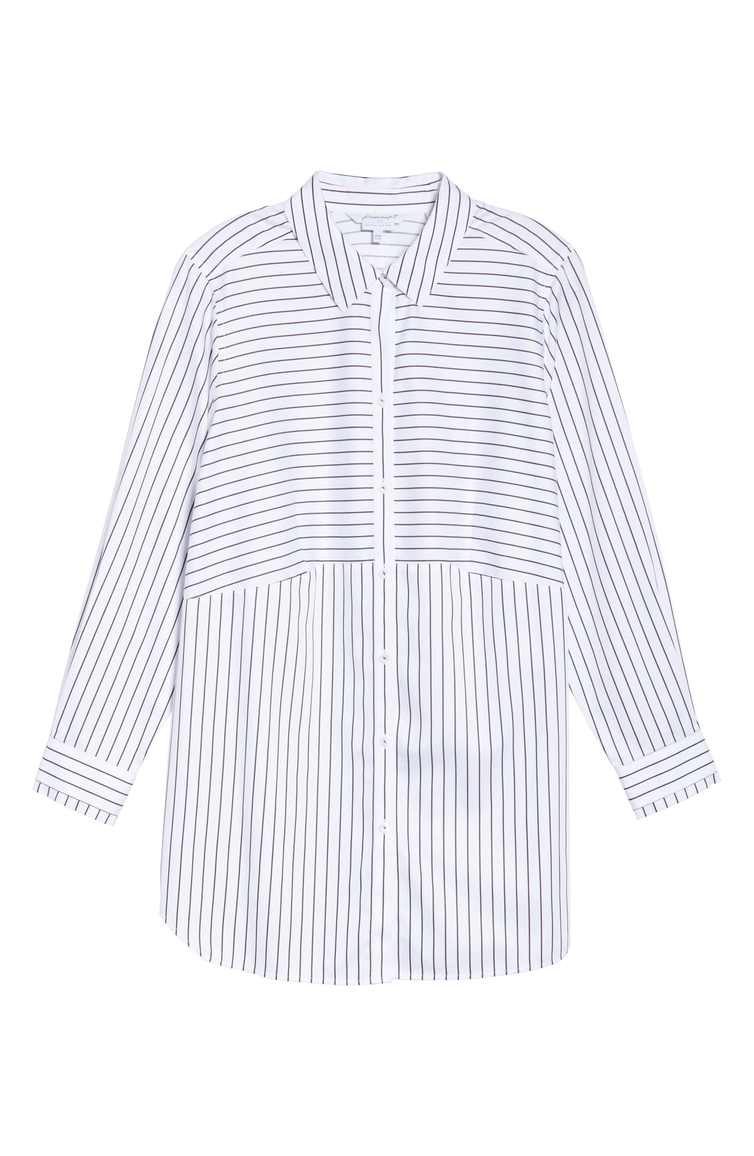 Alternate Image 5  - Foxcroft Gina Holiday Stripe Shirt (Plus Size)