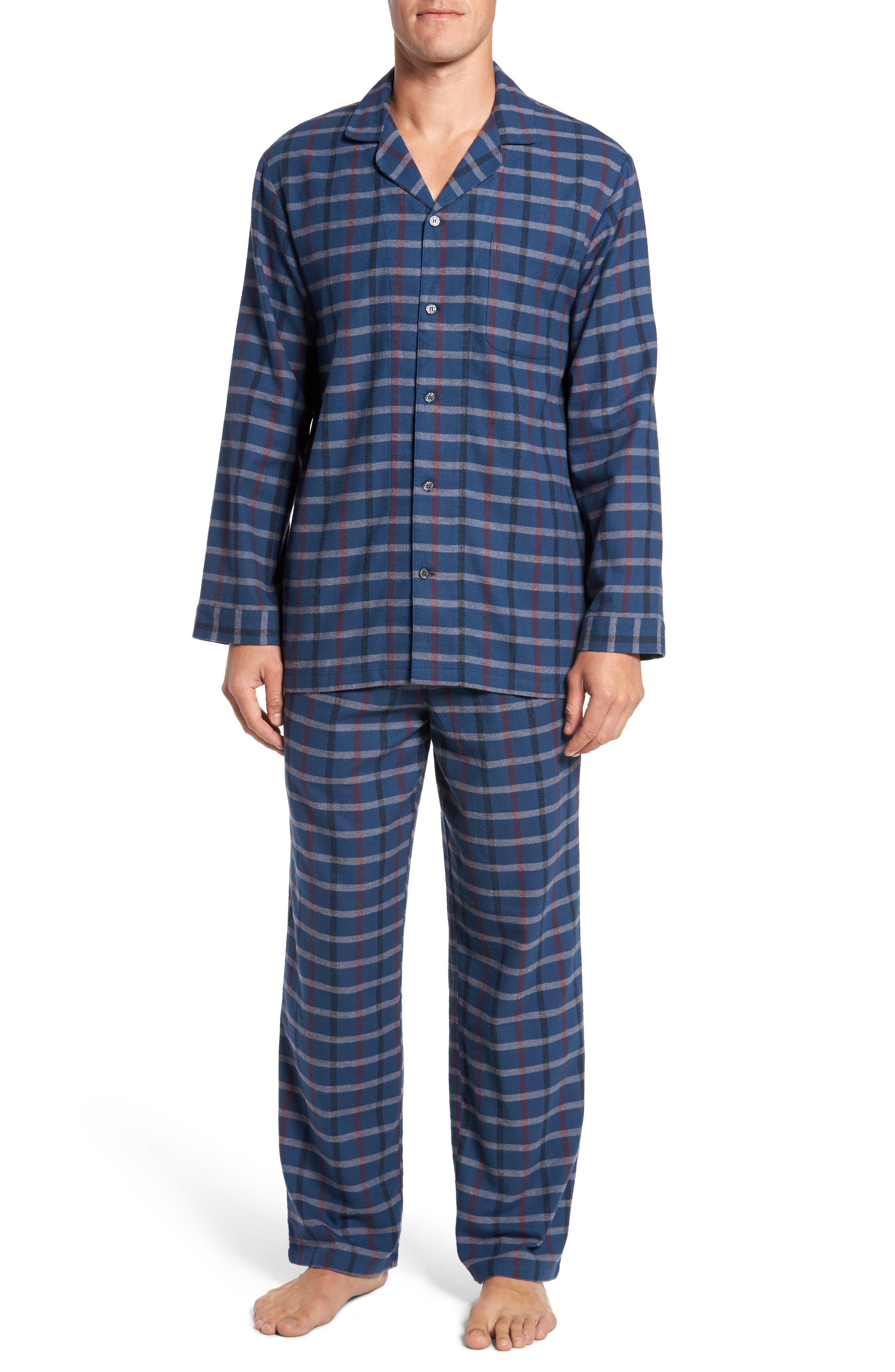 '824' Flannel Pajama Set,                         Main,                         color, Blue Ensign- Grey Check