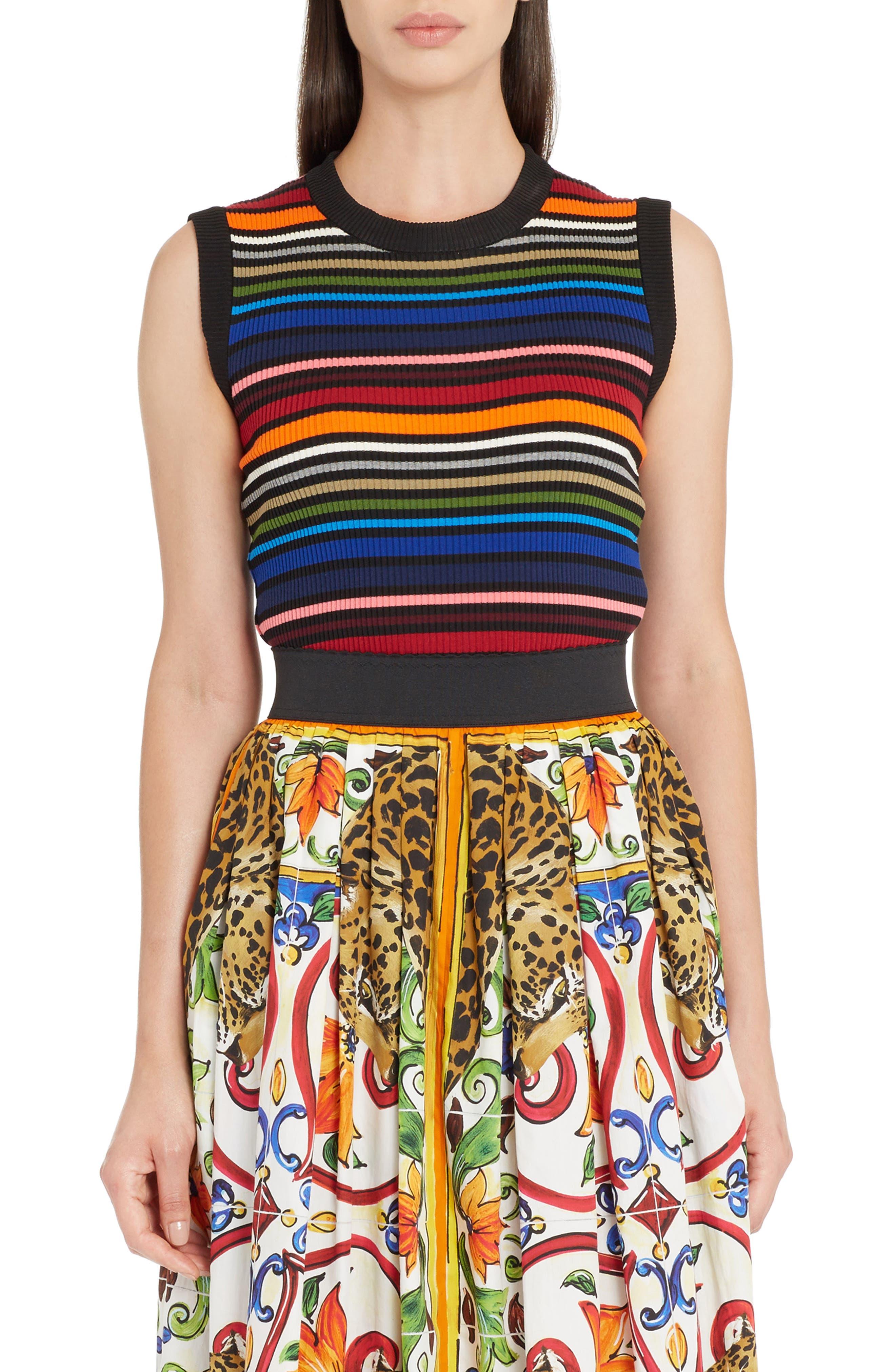 Stripe Sleeveless Sweater,                         Main,                         color, Multi