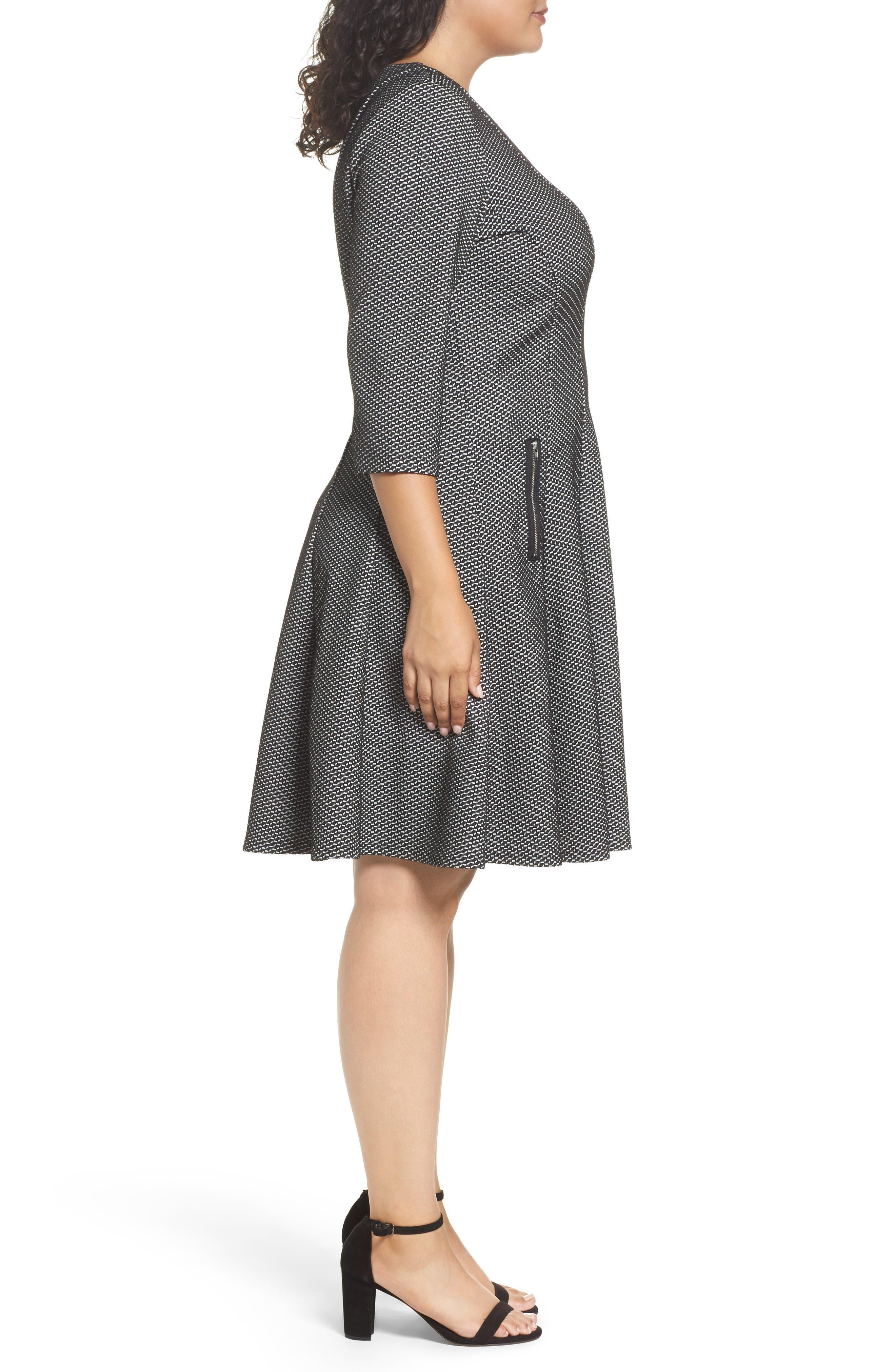 Alternate Image 3  - Gabby Skye Jacquard Fit & Flare Dress (Plus Size)