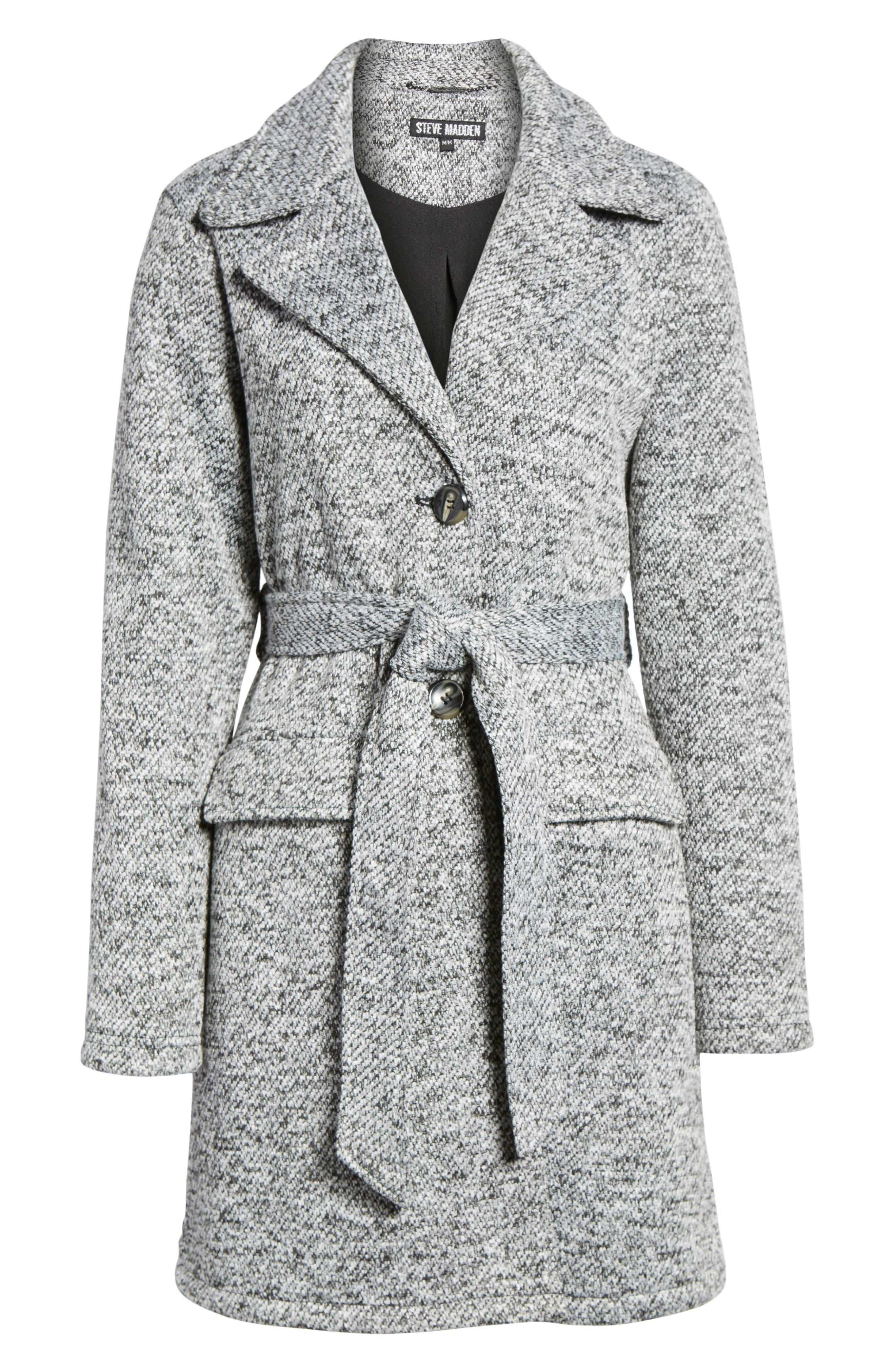 Belted Fleece Jacket,                             Alternate thumbnail 6, color,                             Light Grey Heather