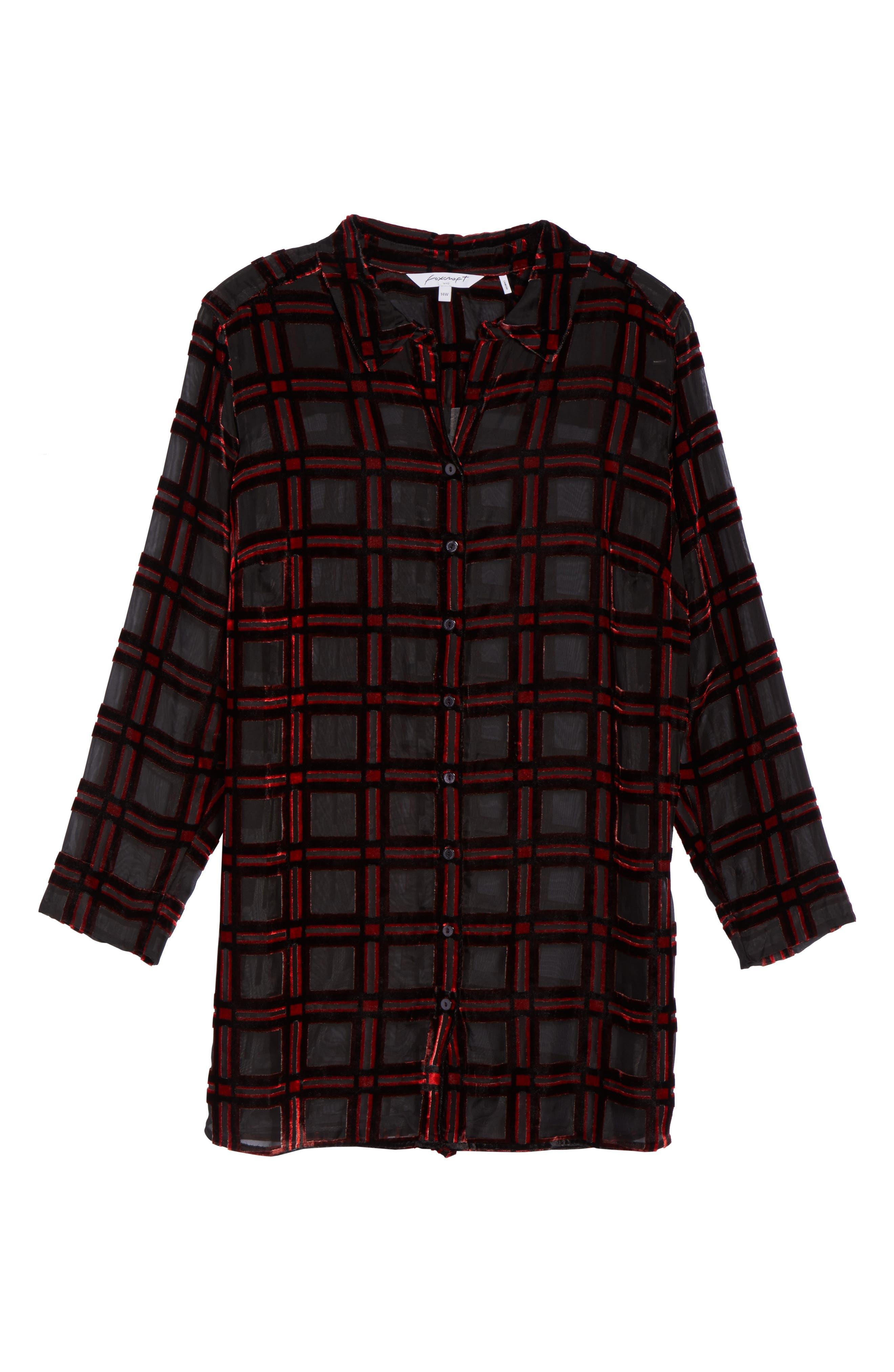 Alternate Image 6  - Foxcroft Jade Burnout Tartan Shirt (Plus Size)