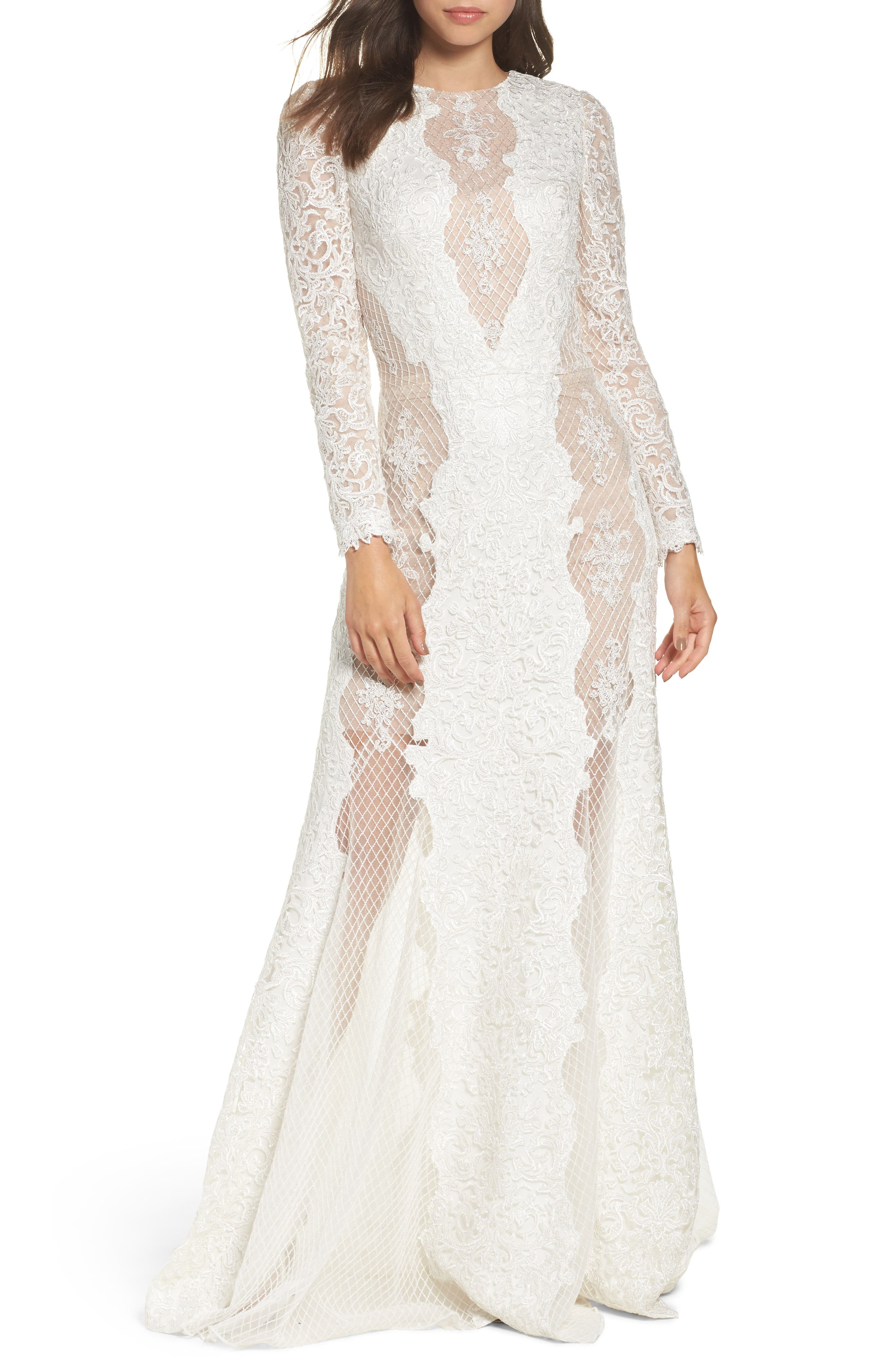 Lace & Mesh Trumpet Gown,                             Main thumbnail 1, color,                             Ivory