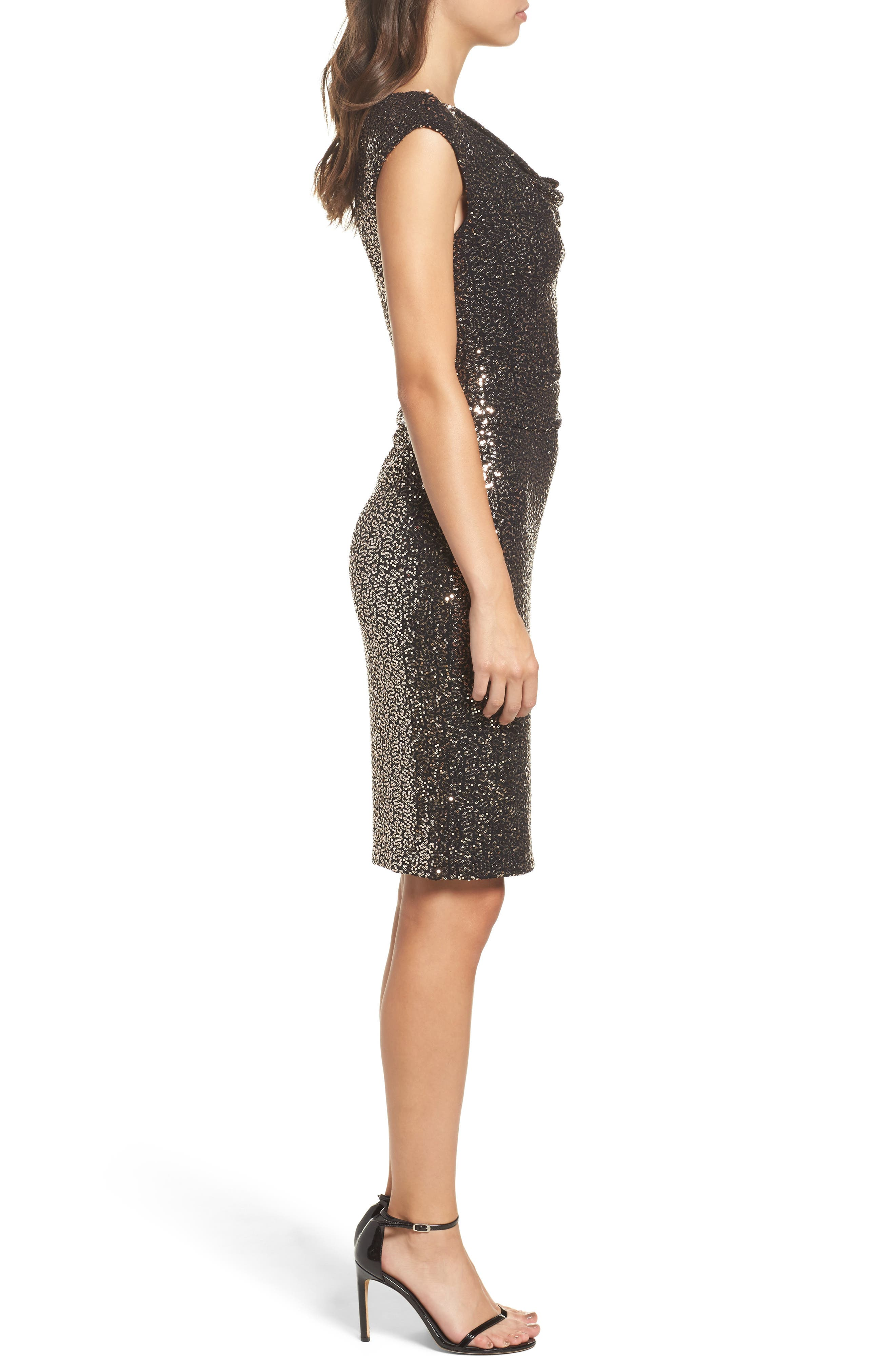 Alternate Image 3  - Eliza J Drape Neck Sequin Embellished Sheath Dress
