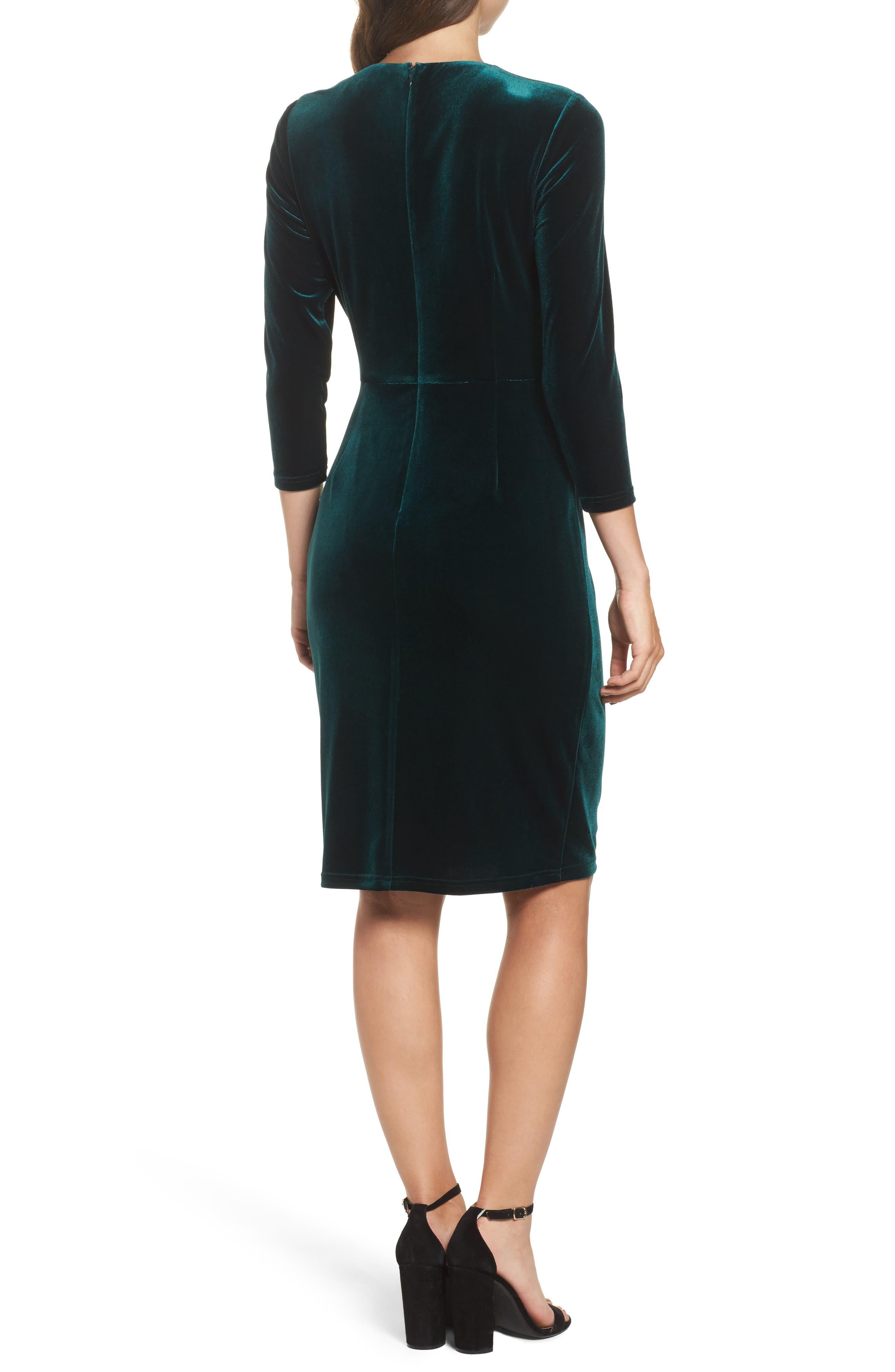 Velvet Sheath Dress,                             Alternate thumbnail 2, color,                             Hunter