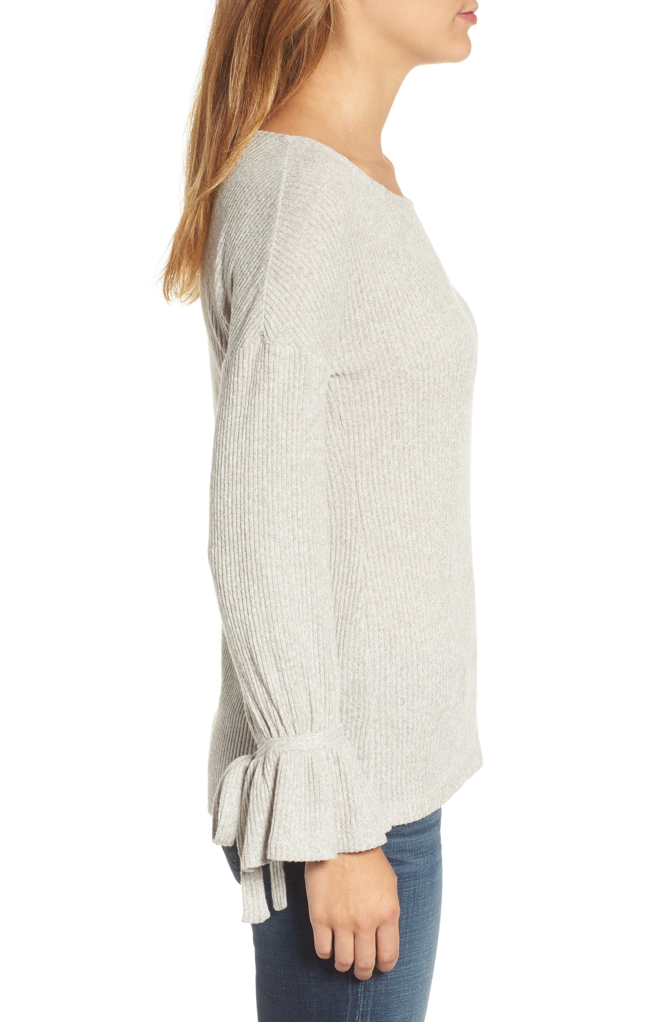 Alternate Image 3  - Lucky Brand Tie Sleeve Rib Pullover