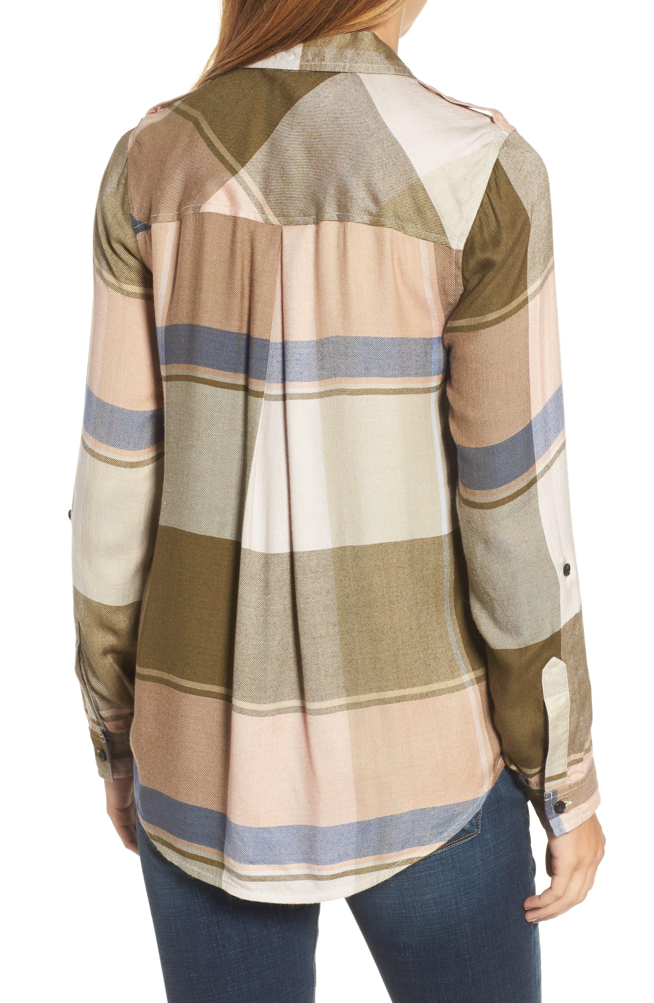 Alternate Image 2  - Lucky Brand Plaid Roll Sleeve Shirt