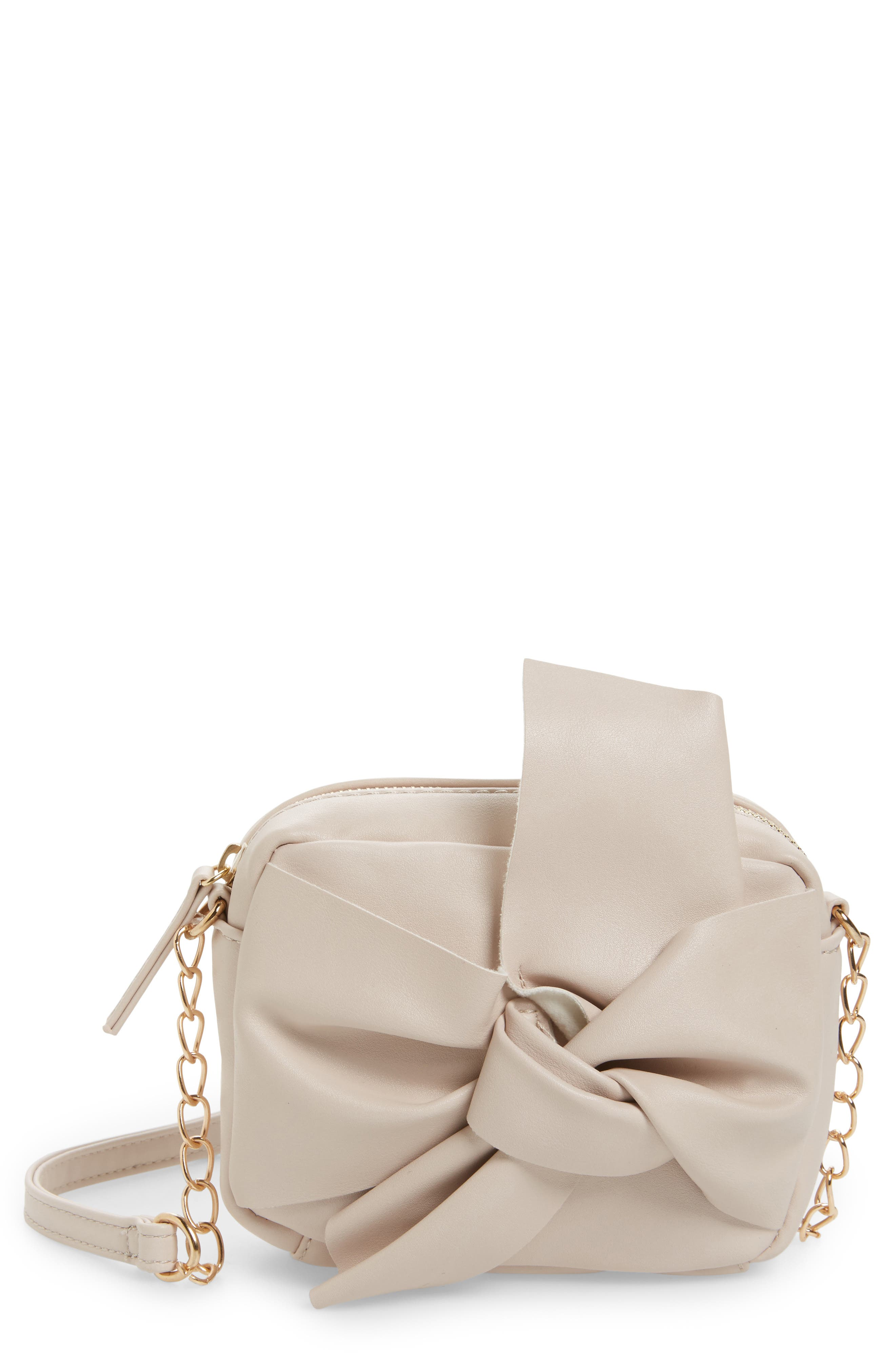 Knotted Bow Faux Leather Crossbody Bag,                             Main thumbnail 1, color,                             Blush