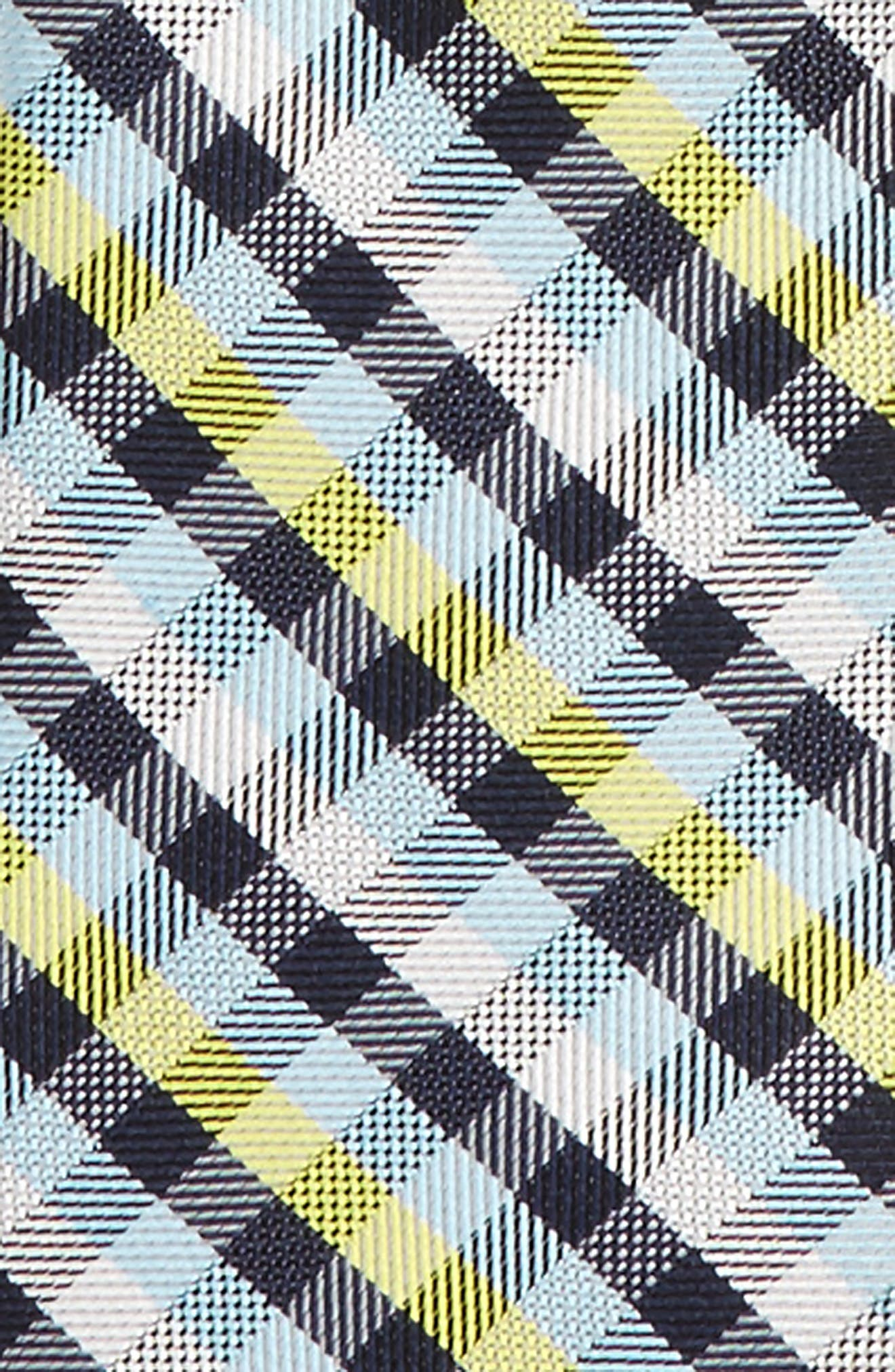 Plaid Silk Zip Tie,                             Alternate thumbnail 2, color,                             Yellow