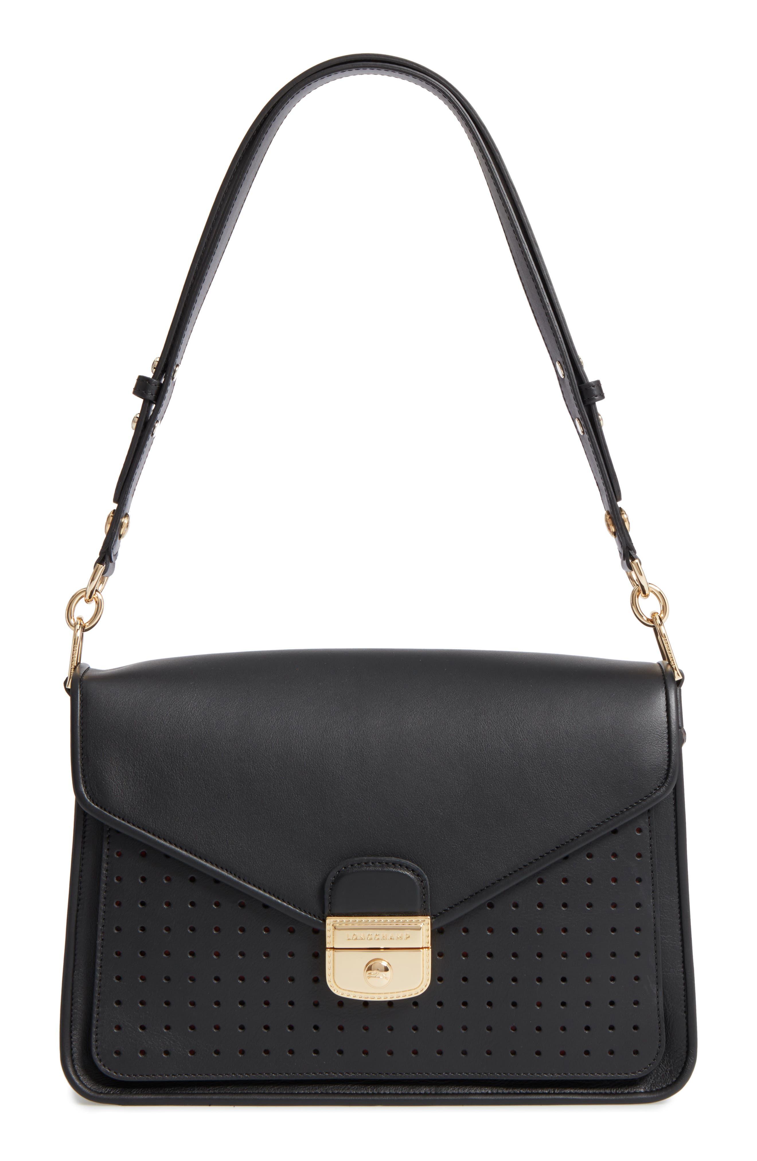 Longchamp Mademoiselle Calfskin Leather Shoulder Bag