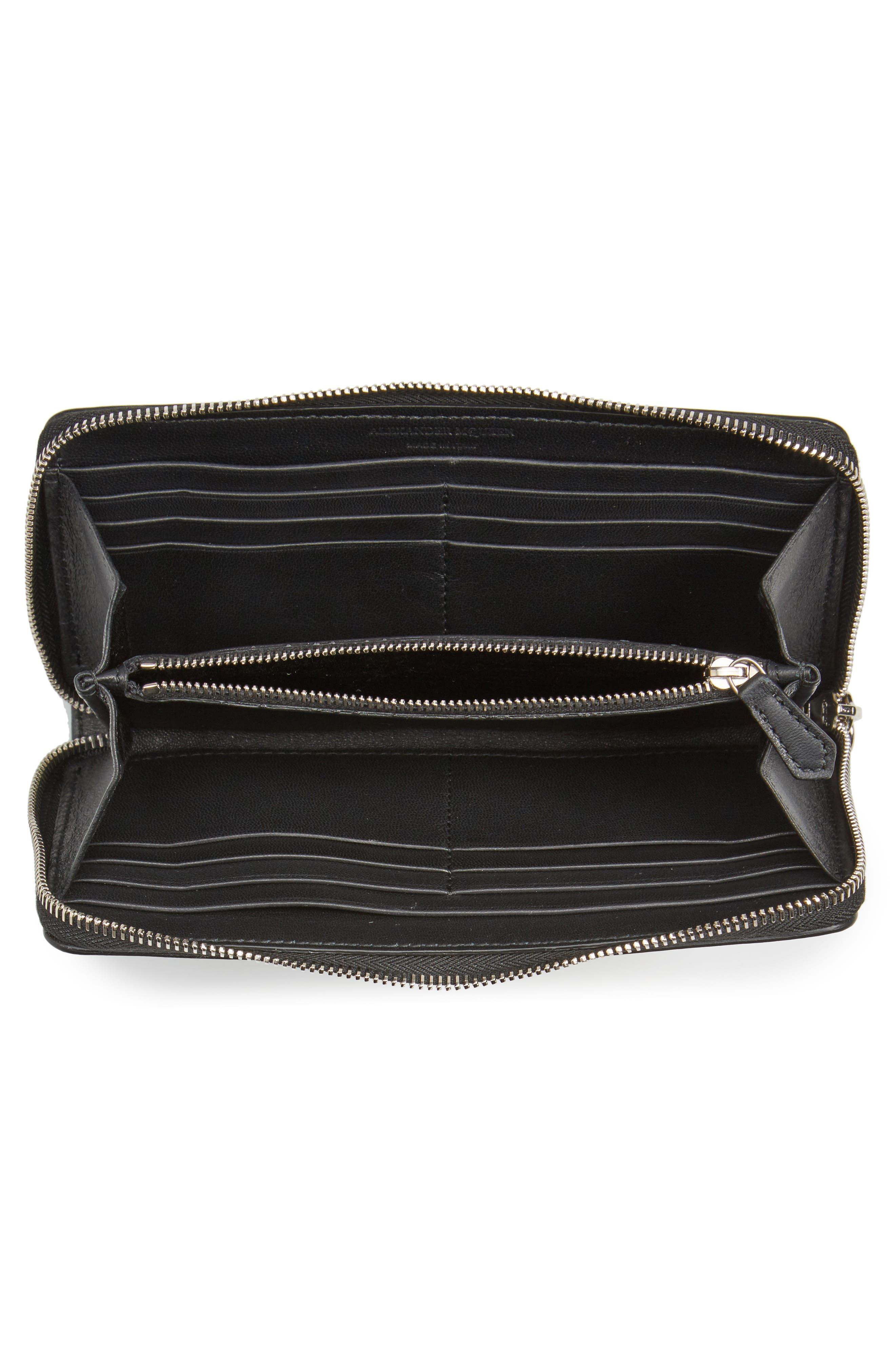 Grommet & Stud Calfskin Leather Continental Wallet,                             Alternate thumbnail 2, color,                             Black