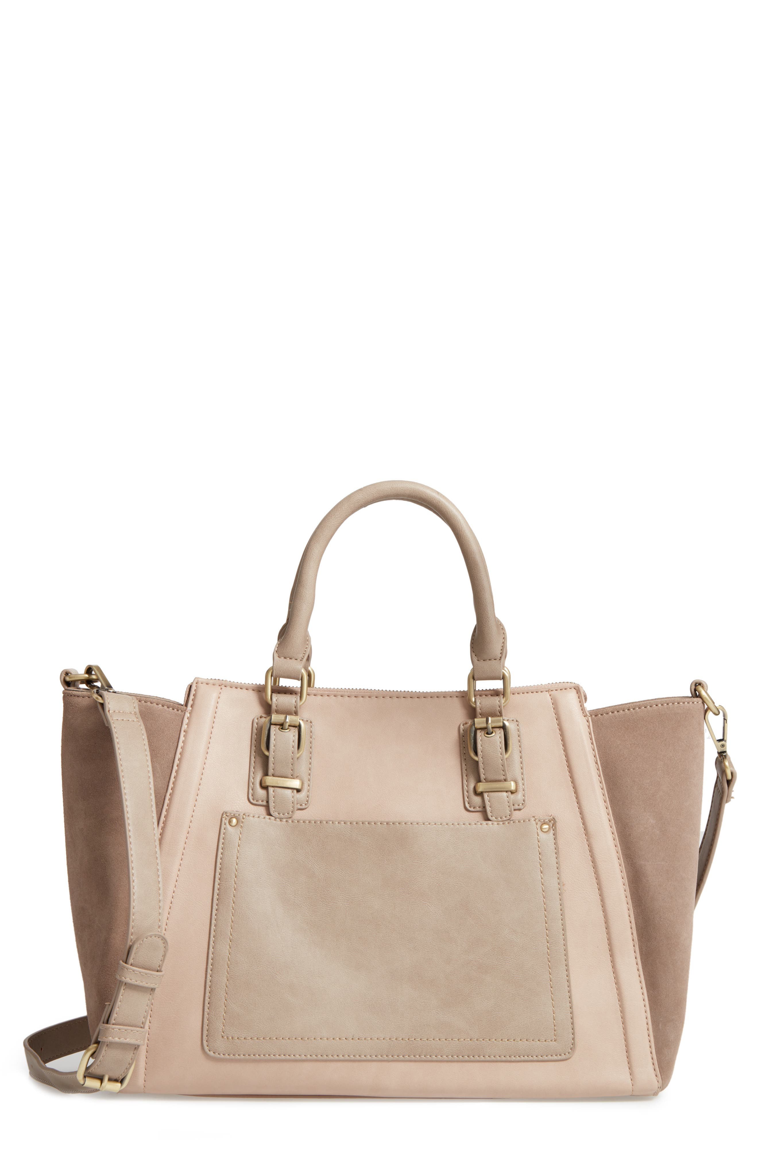 'Jensen' Mixed Media Tote,                             Main thumbnail 1, color,                             Taupe Combo