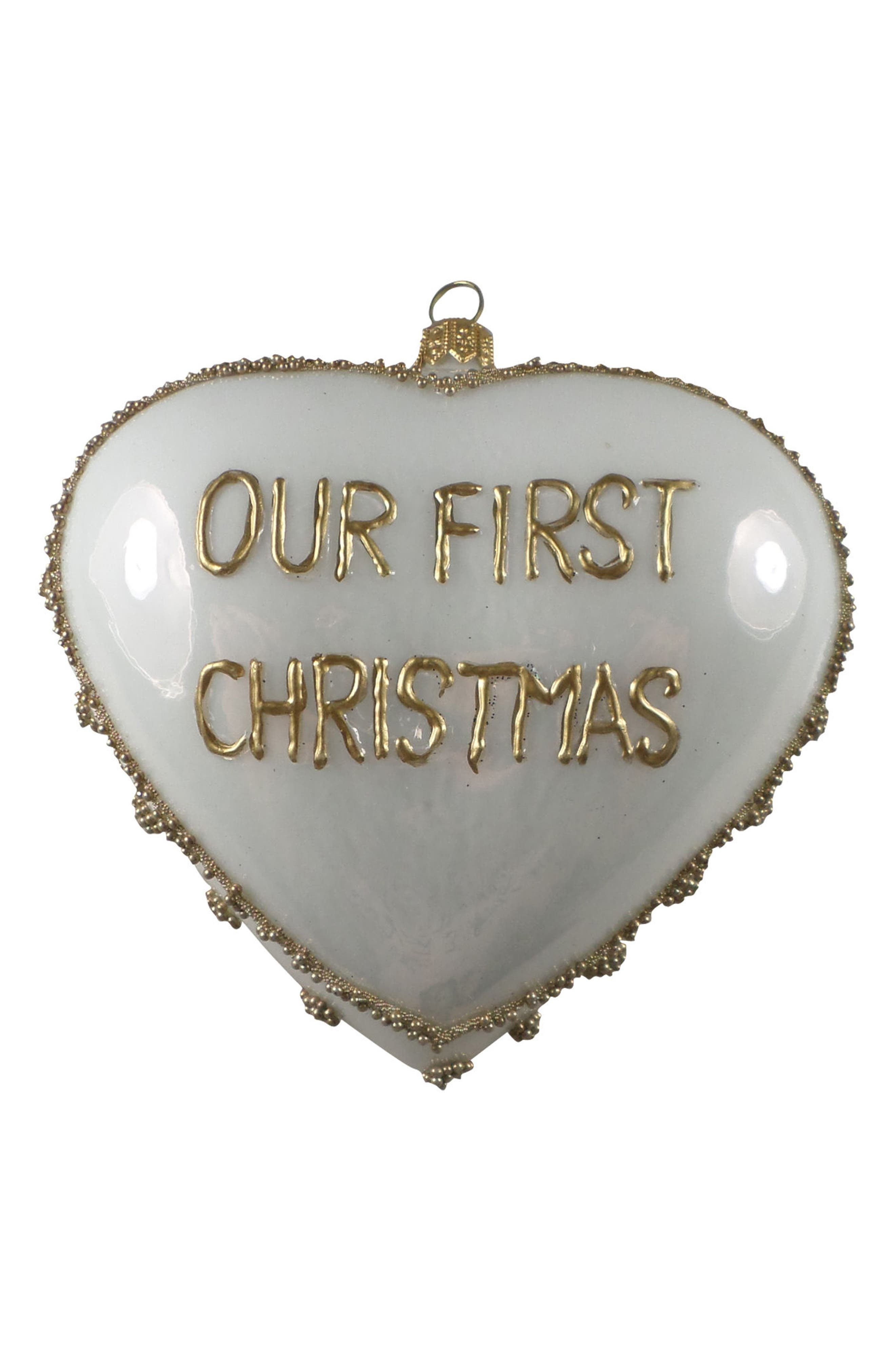 Our First Christmas Handblown Glass Heart Ornament,                         Main,                         color, White/ Gold