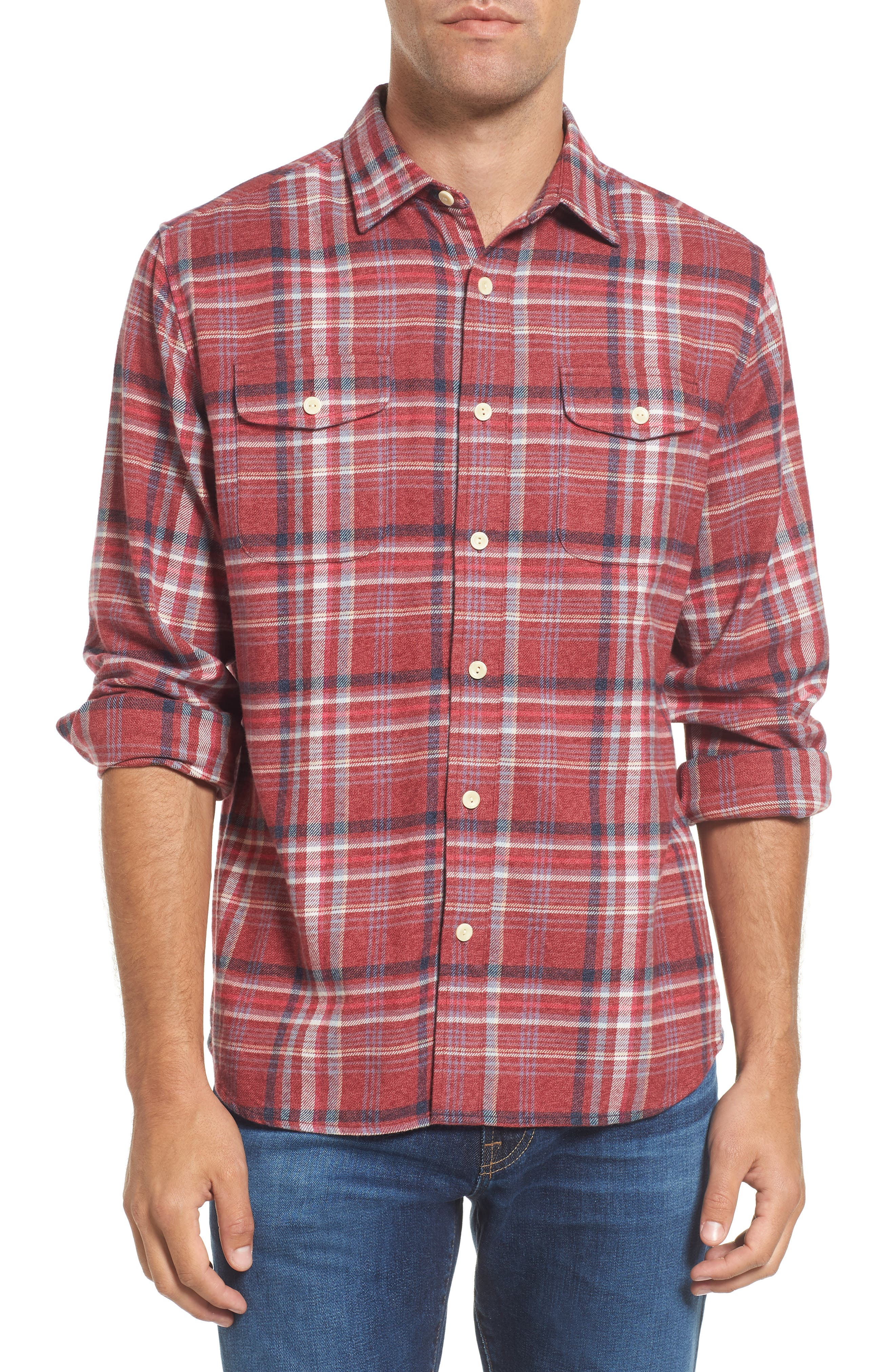 Milbrook Modern Fit Lux Flannel Sport Shirt,                             Main thumbnail 1, color,                             Burgundy Plaid