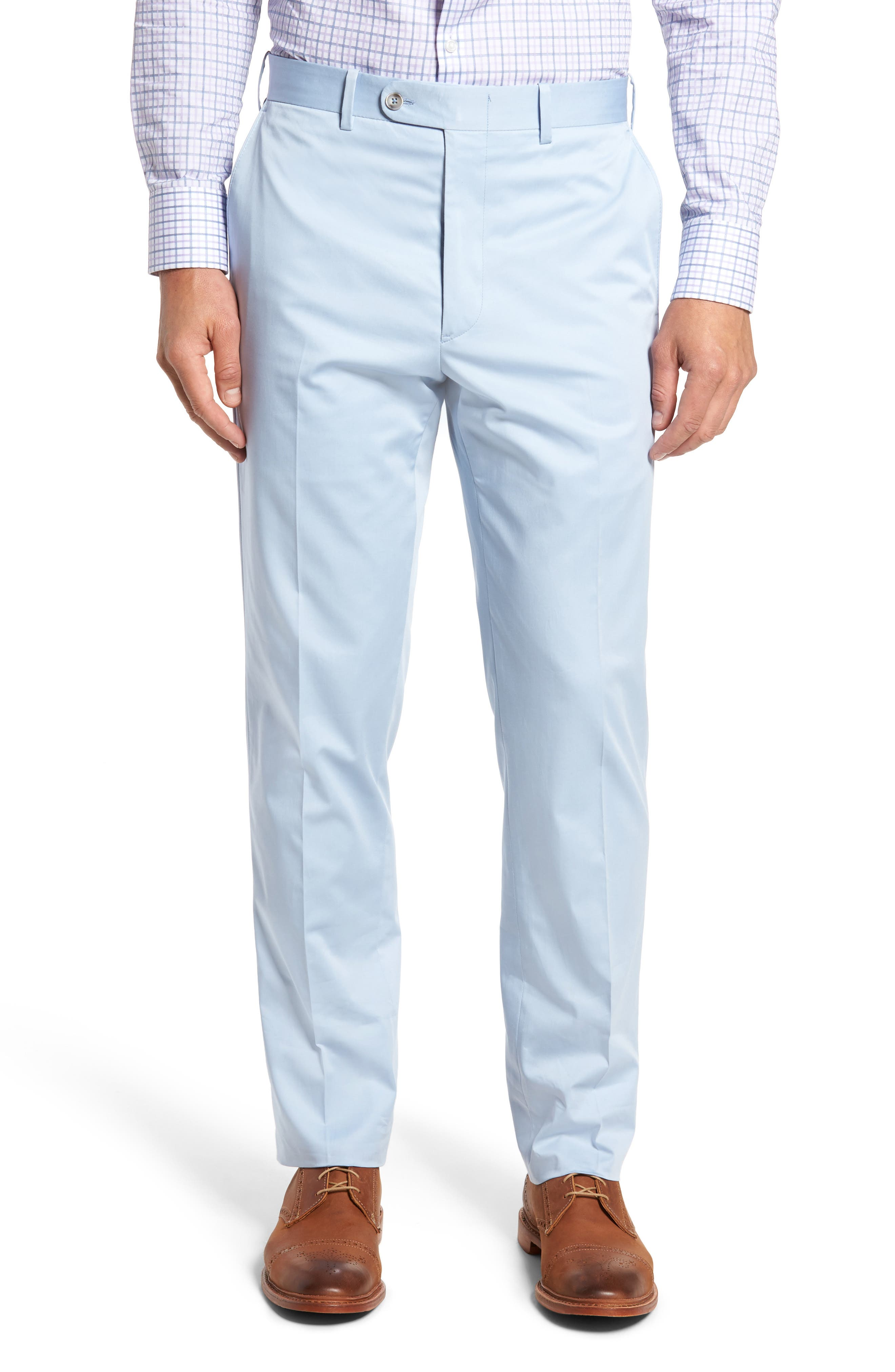 JB Britches Flat Front Solid Stretch Cotton Trousers