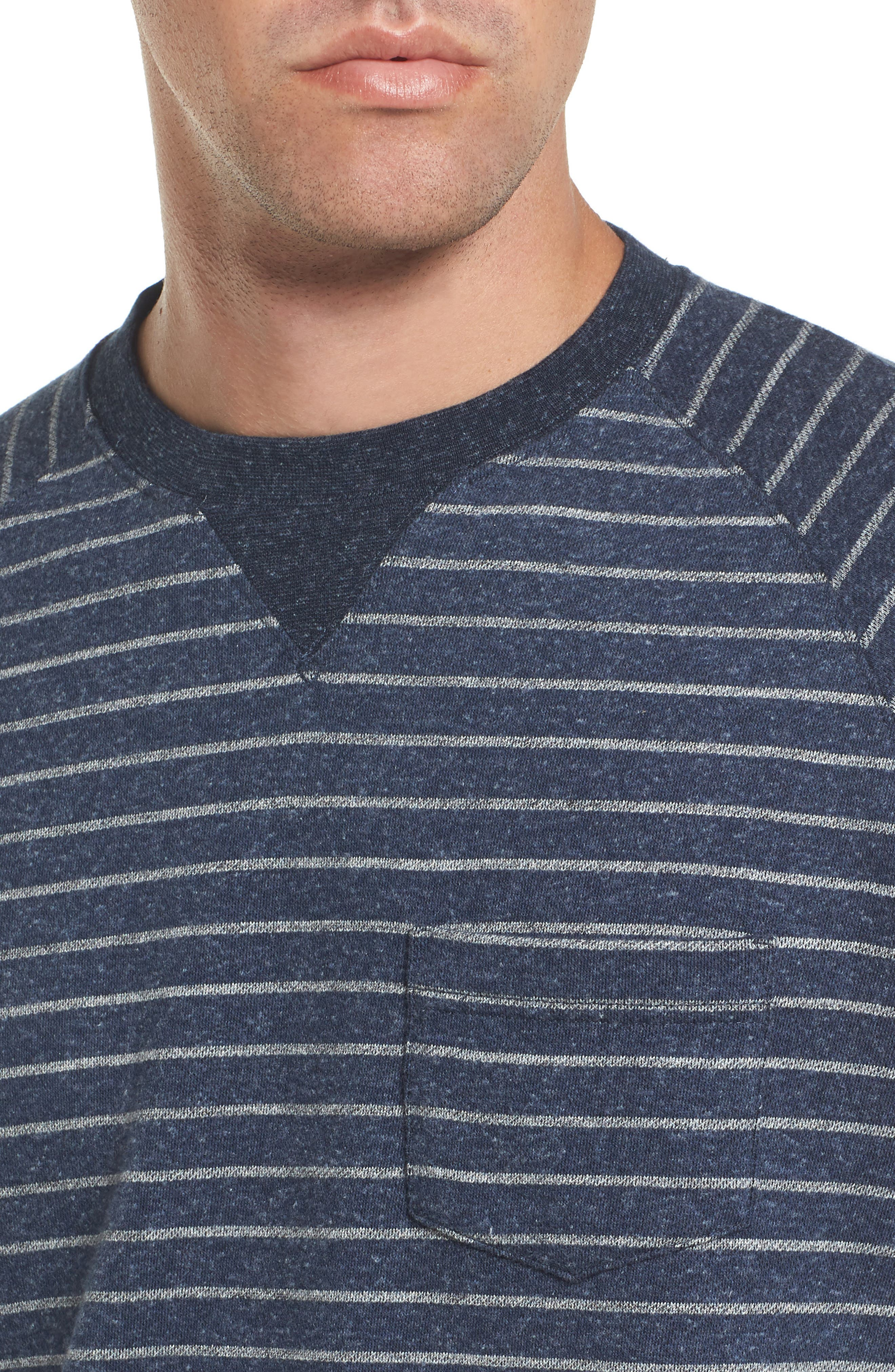 Palmer Modern Fit Athletic Stripe Sweatshirt,                             Alternate thumbnail 5, color,                             Navy/ Gray Heather