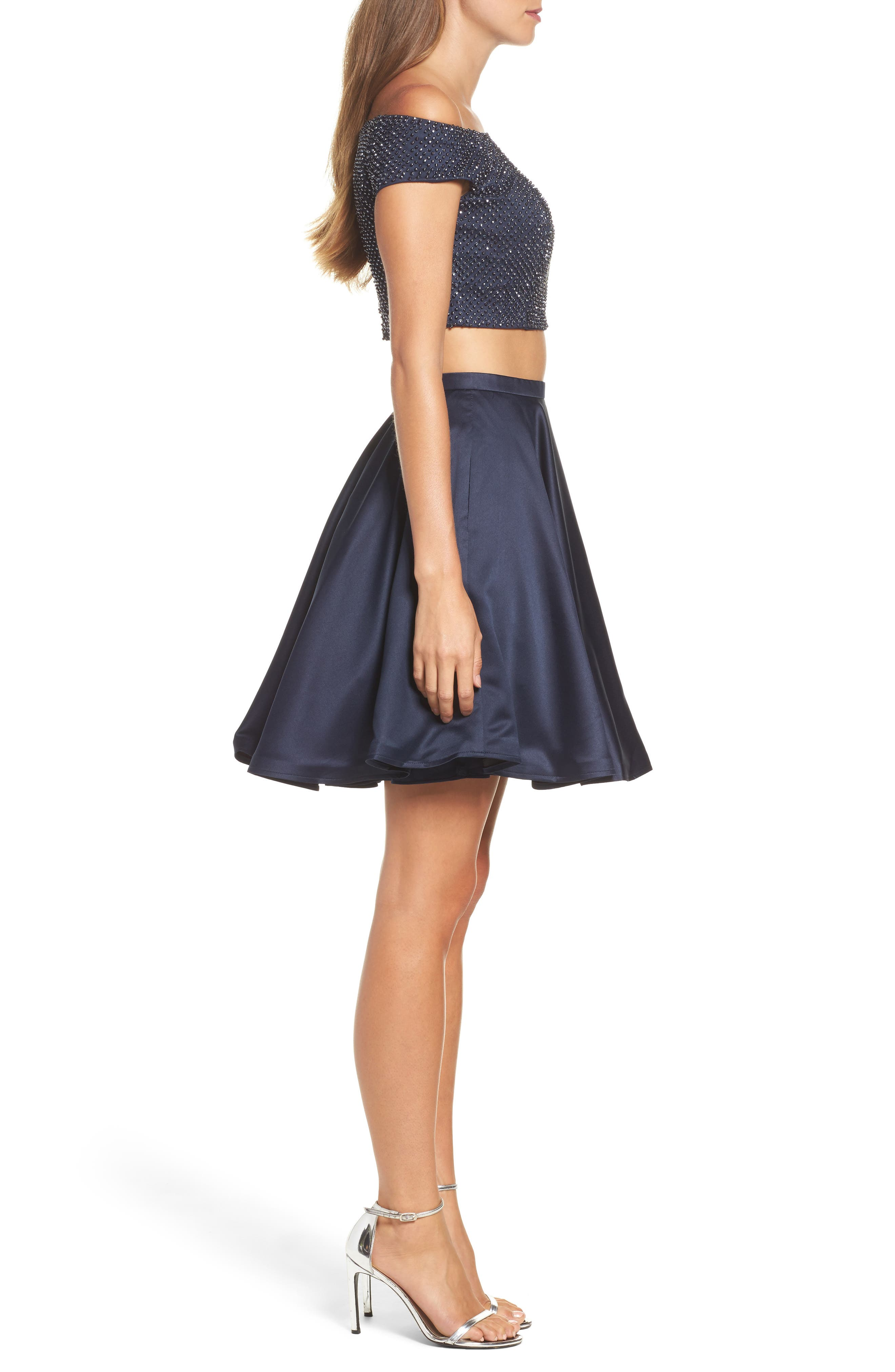 Off the Shoulder Two-Piece Fit & Flare Dress,                             Alternate thumbnail 3, color,                             Navy