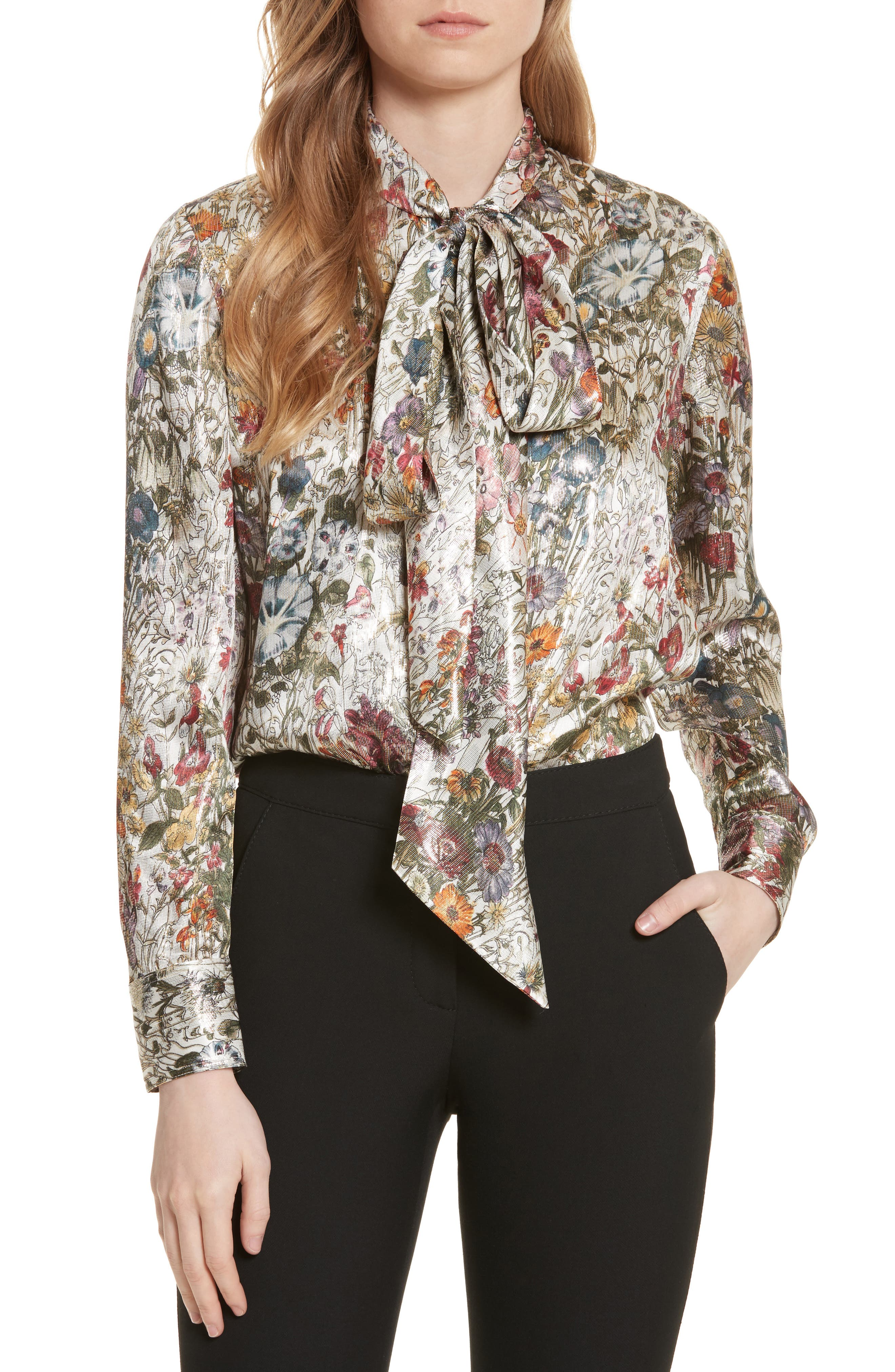 Tory Burch Tie Neck Metallic Floral Blouse