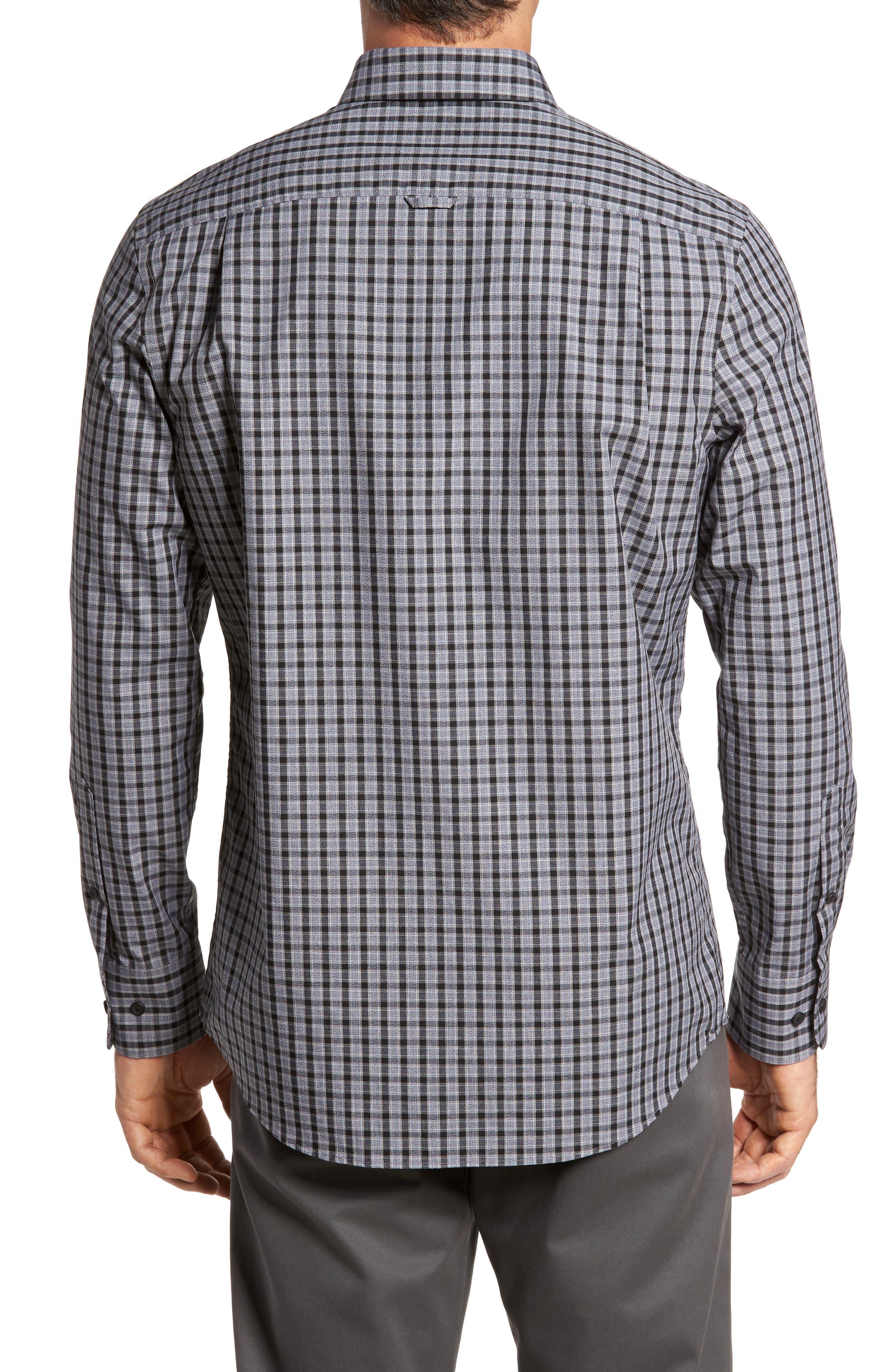 Regular Fit Non-Iron Check Sport Shirt,                             Alternate thumbnail 2, color,                             Grey Shade Black Heather Check