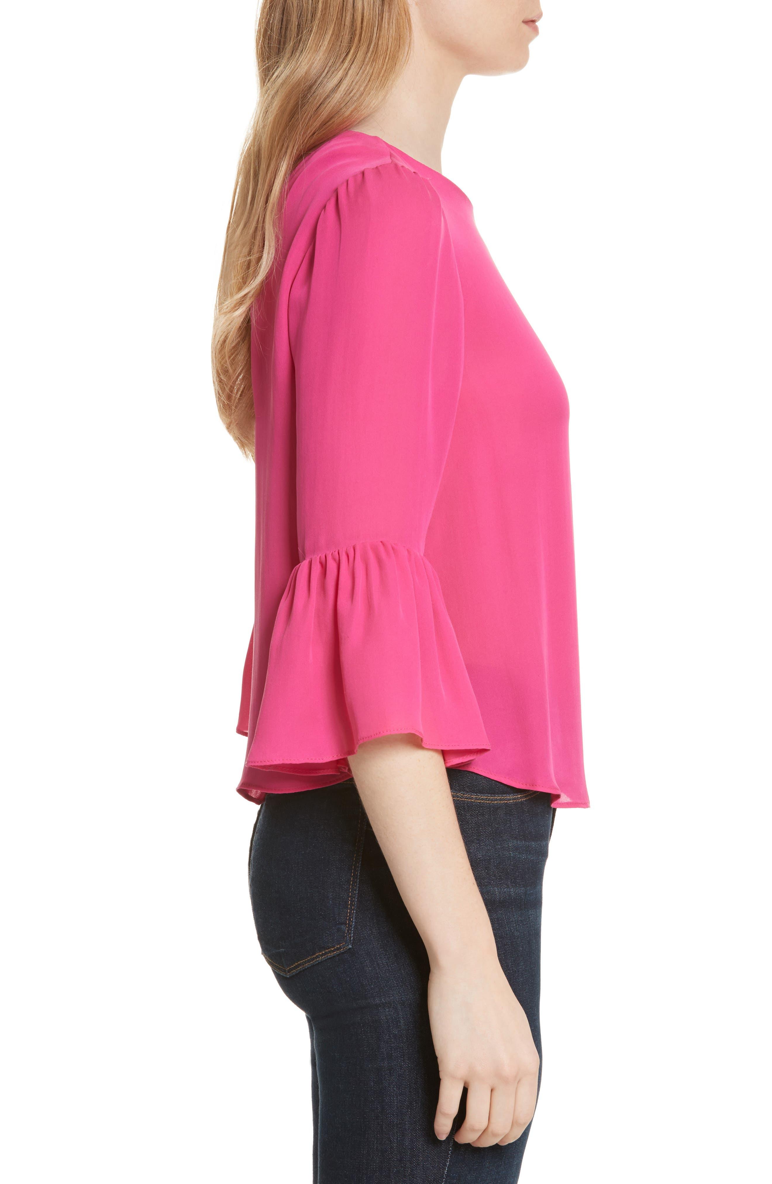 Bernice Ruffle Sleeve Silk Top,                             Alternate thumbnail 3, color,                             Fuchsia