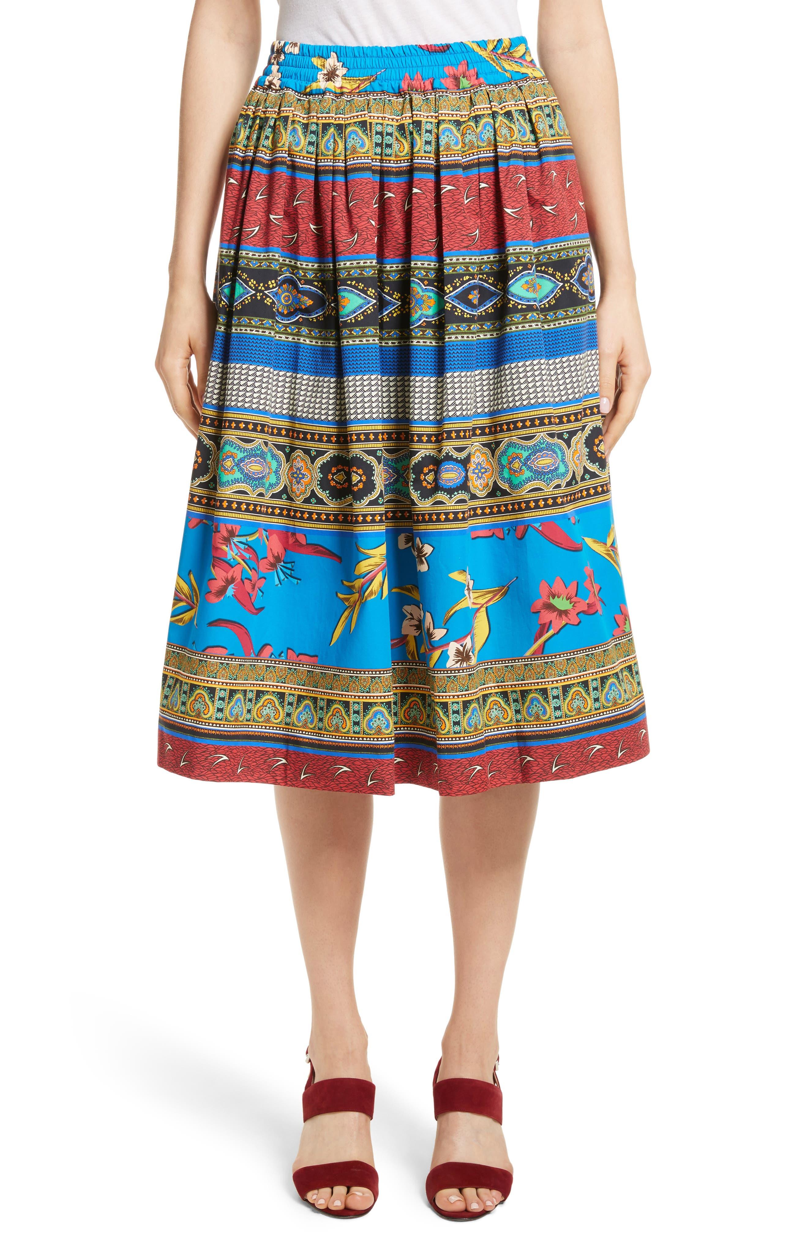 Floral Geo Print Cotton Skirt,                         Main,                         color, Multi