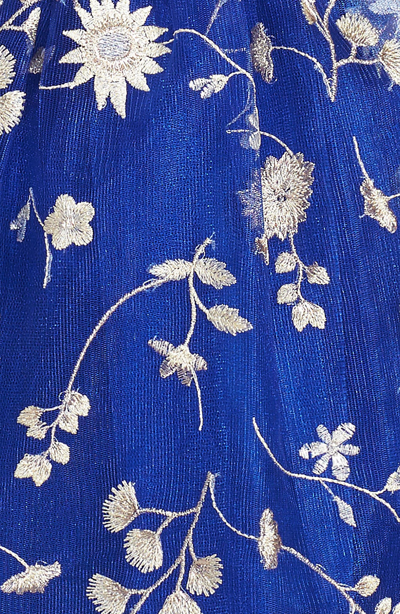 Floral Embroidery Dress,                             Alternate thumbnail 5, color,                             Royal Blue/ Gold