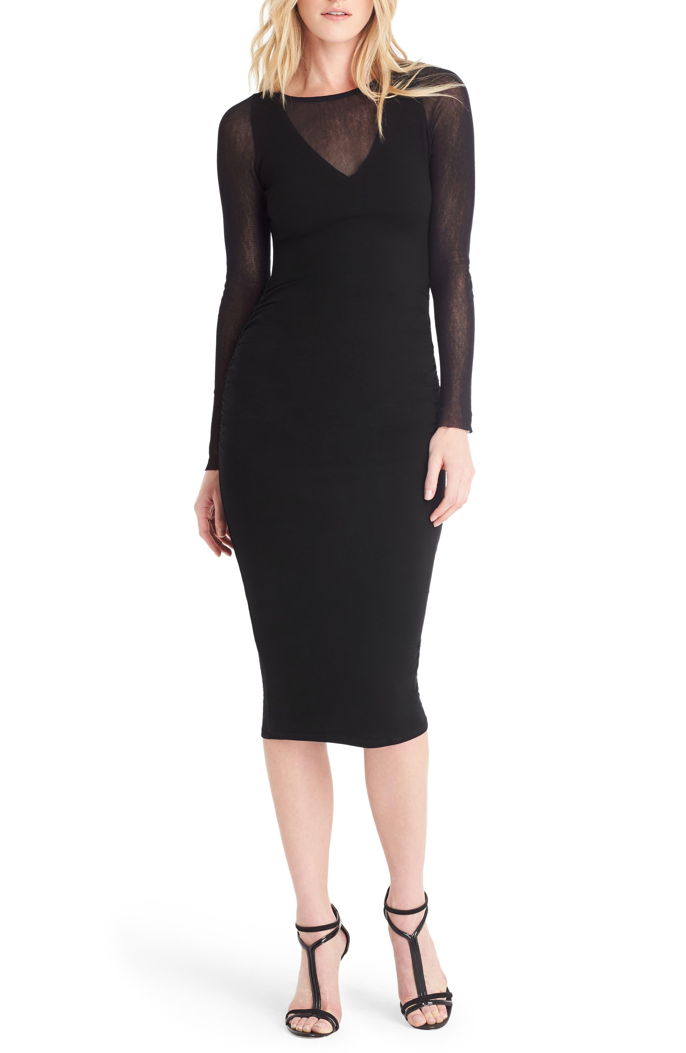 Ruched Mesh Midi Dress,                         Main,                         color, Black