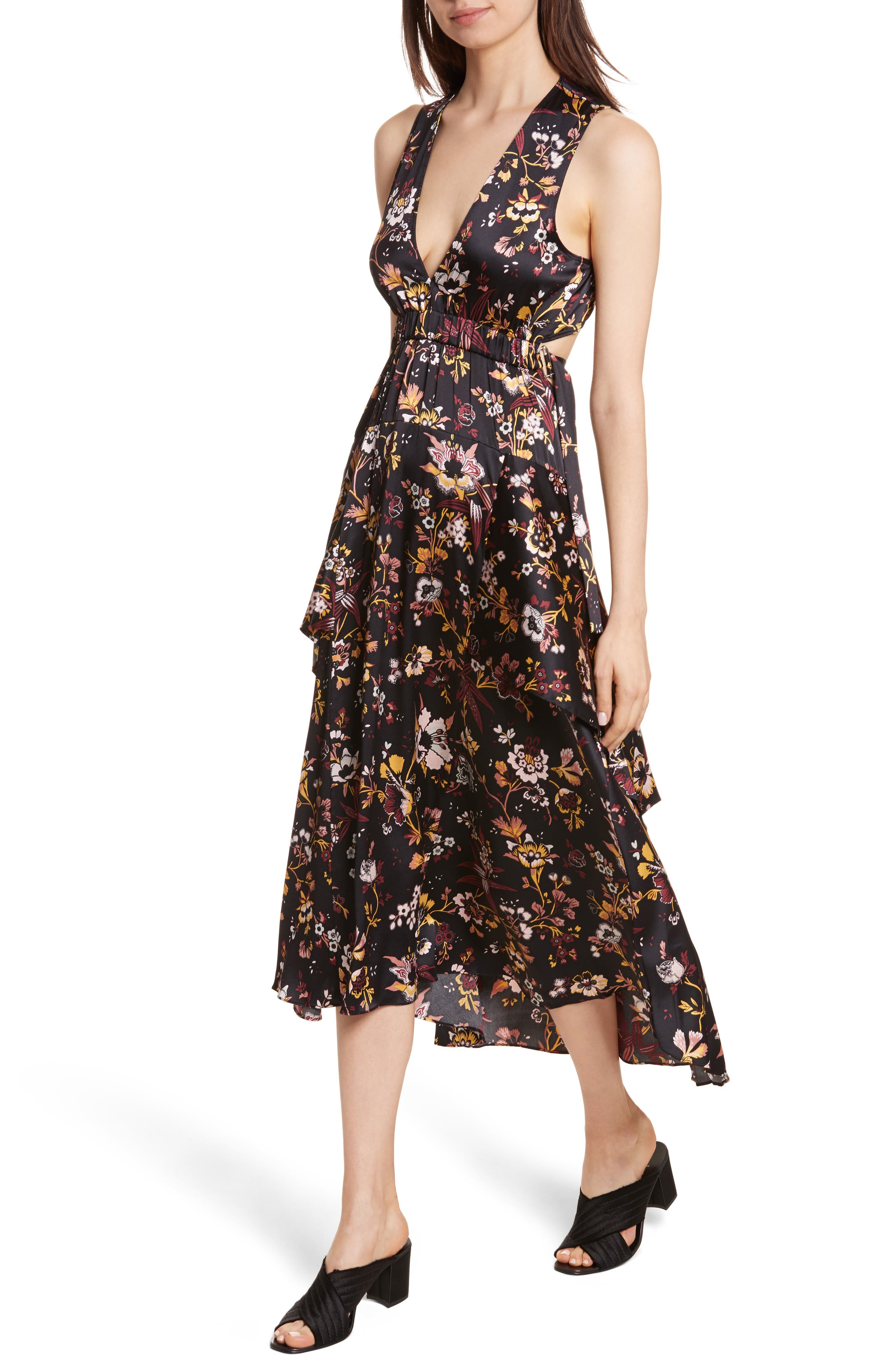 Verbena Floral Print Stretch Silk Dress,                             Alternate thumbnail 4, color,                             Black/ Grey/ Mustard
