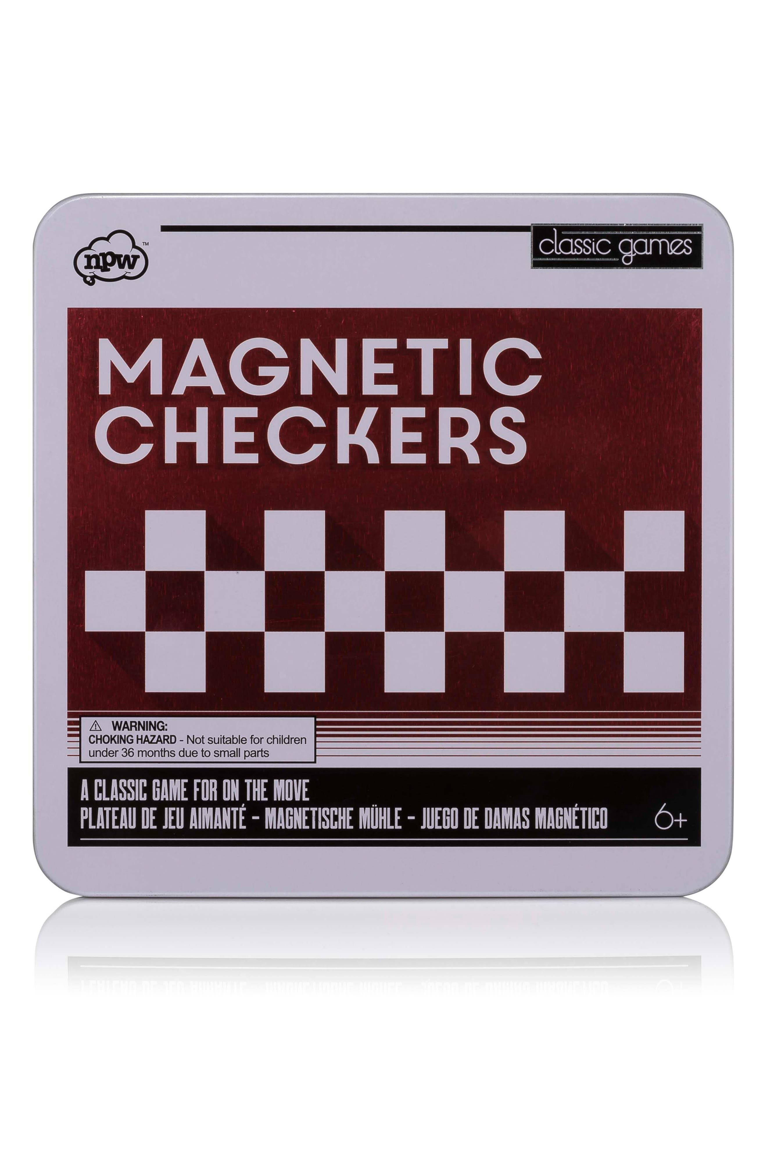 Classic Games 25-Piece Magnetic Checkers Set,                             Main thumbnail 1, color,                             Multi