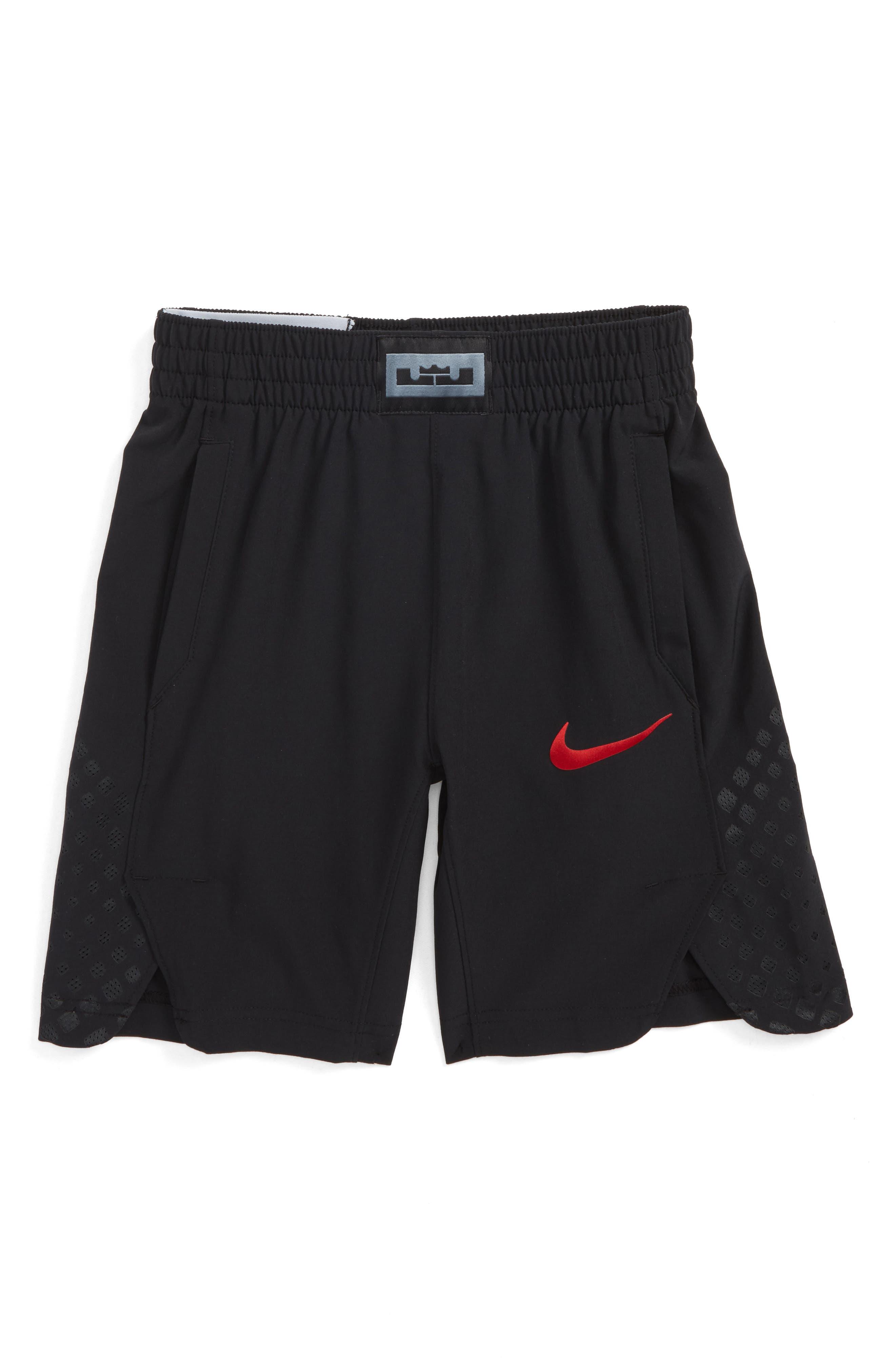 LeBron James Flex Hyper Elite Basketball Shorts,                         Main,                         color, Black/ Unvred