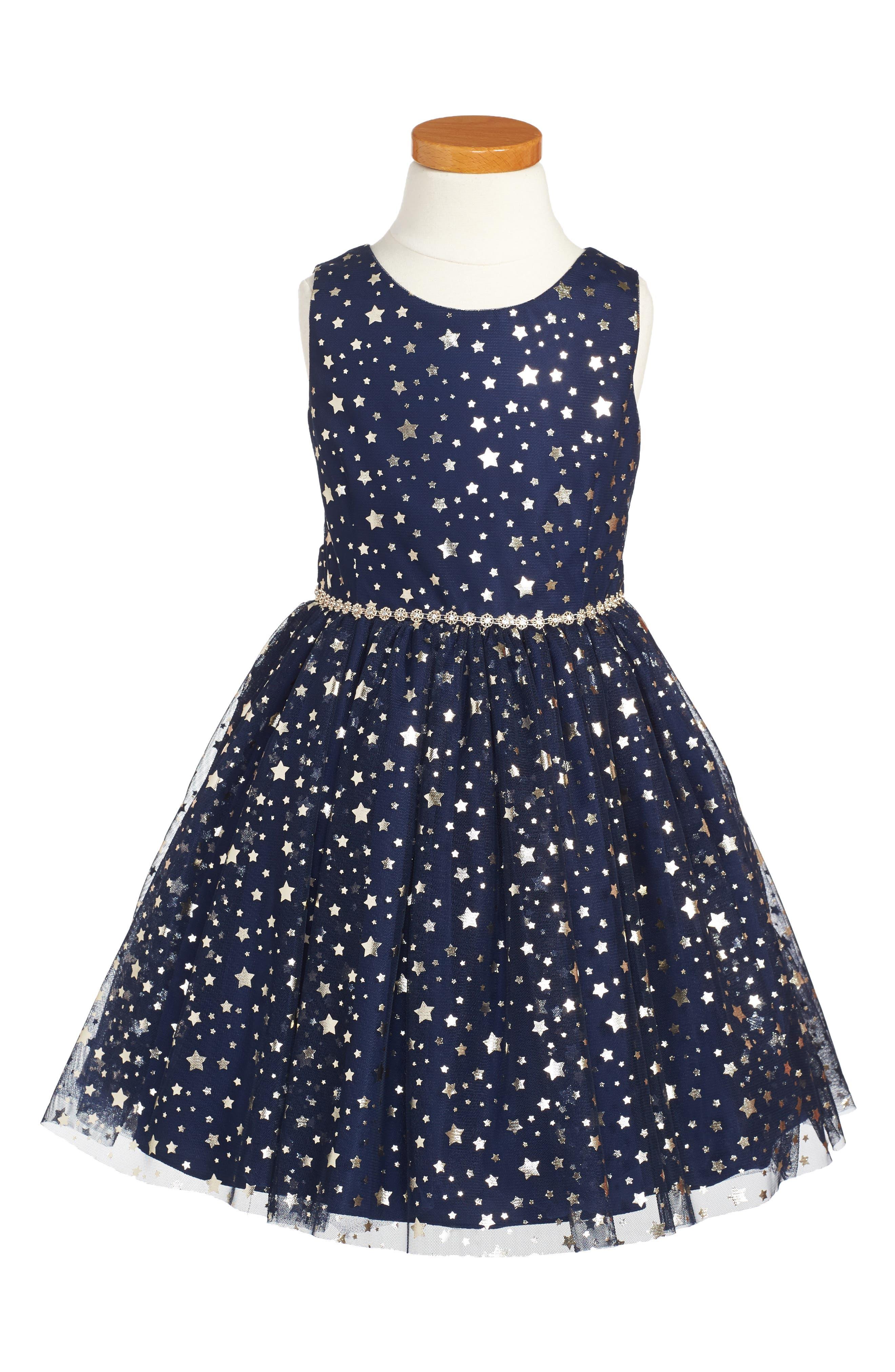 Main Image - Pippa & Julie Metallic Stars Party Dress (Toddler Girls, Little Girls & Big Girls)
