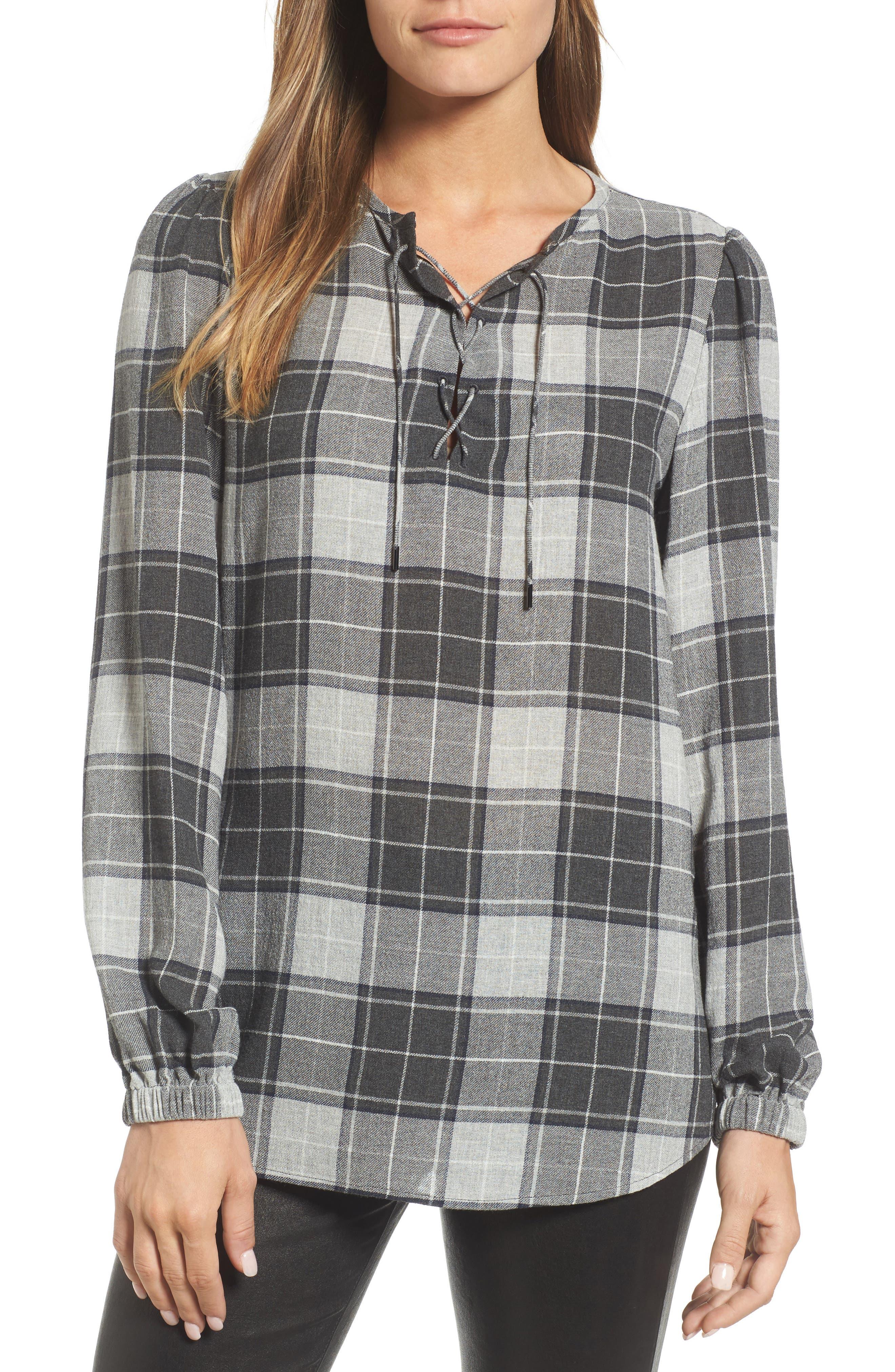 Keyhole Peasant Sleeve Top,                         Main,                         color, Grey Plaid Combo