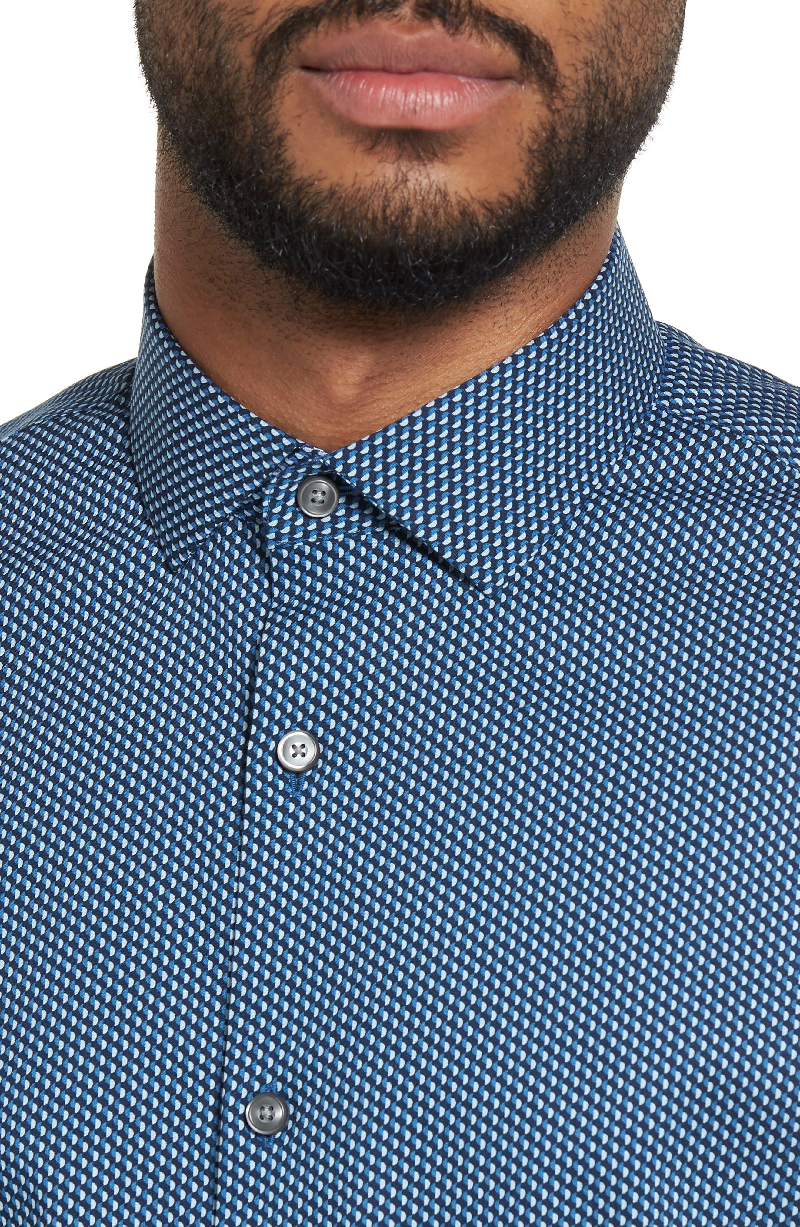 Print Sport Shirt,                             Alternate thumbnail 4, color,                             Blue Ice Navy Geo Print