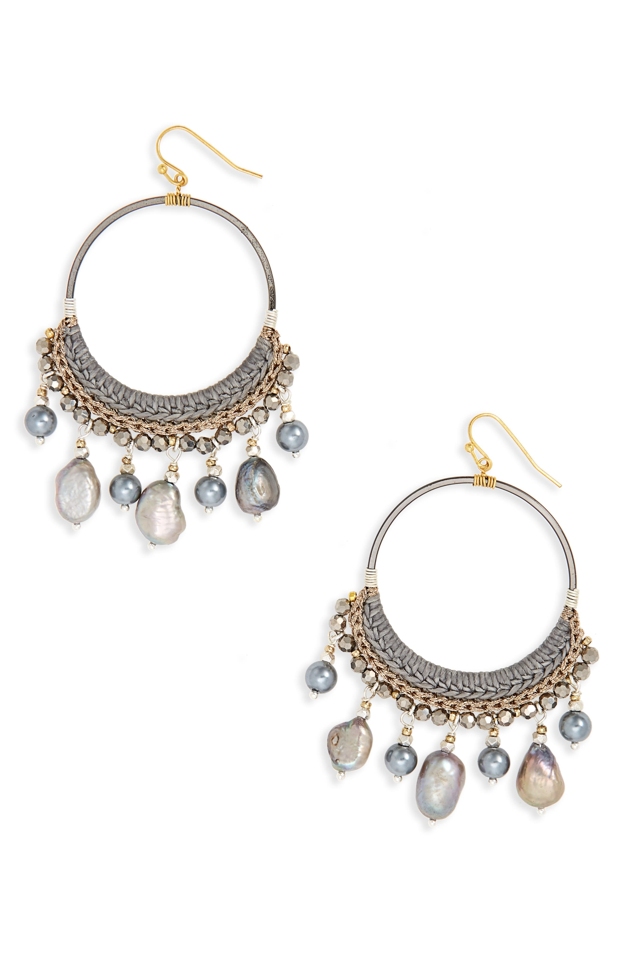 Freshwater Pearl Earrings,                         Main,                         color, Grey