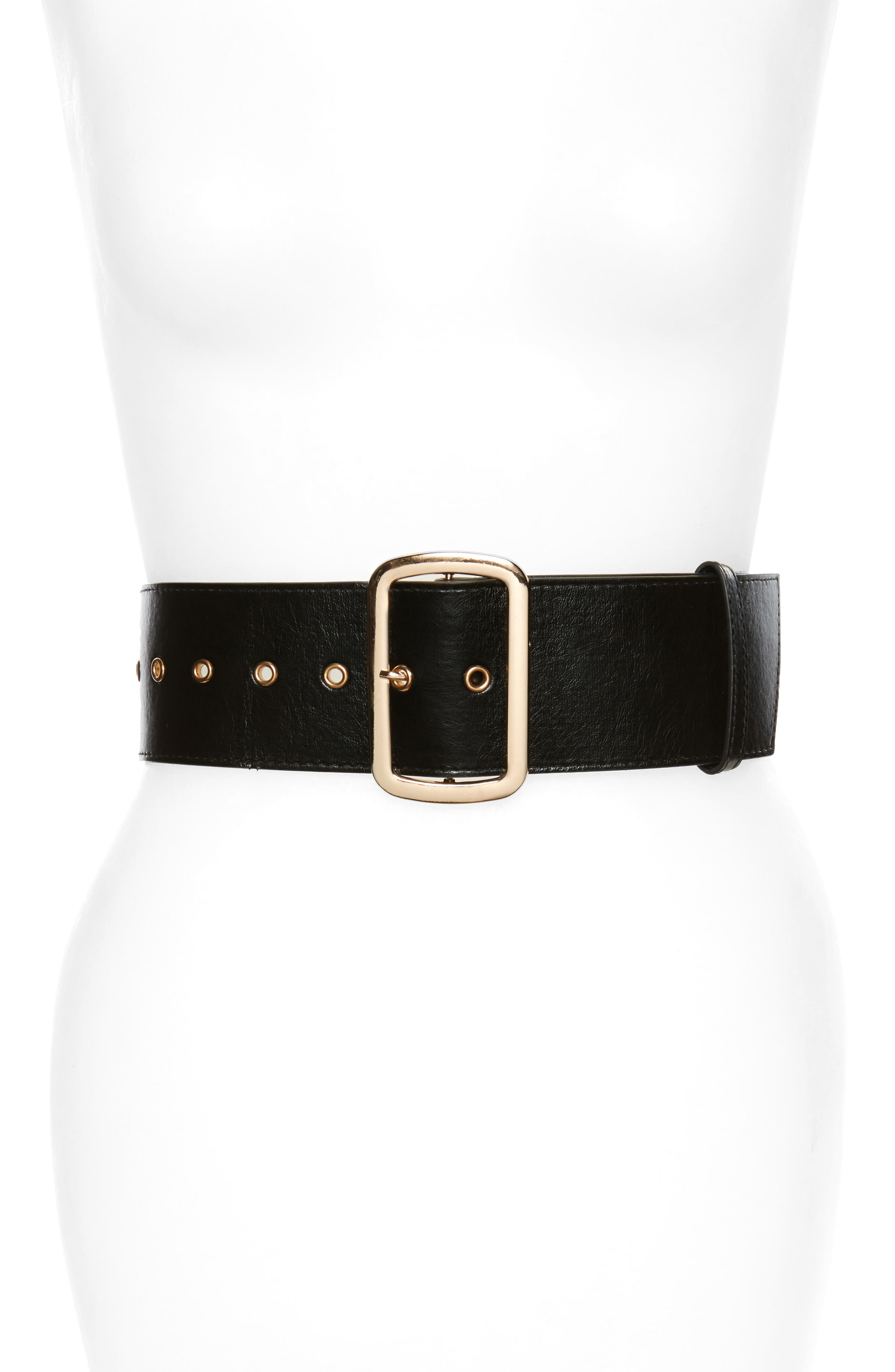 Accessory Collective Square Buckle Faux Leather Belt,                         Main,                         color, Black/ Gold