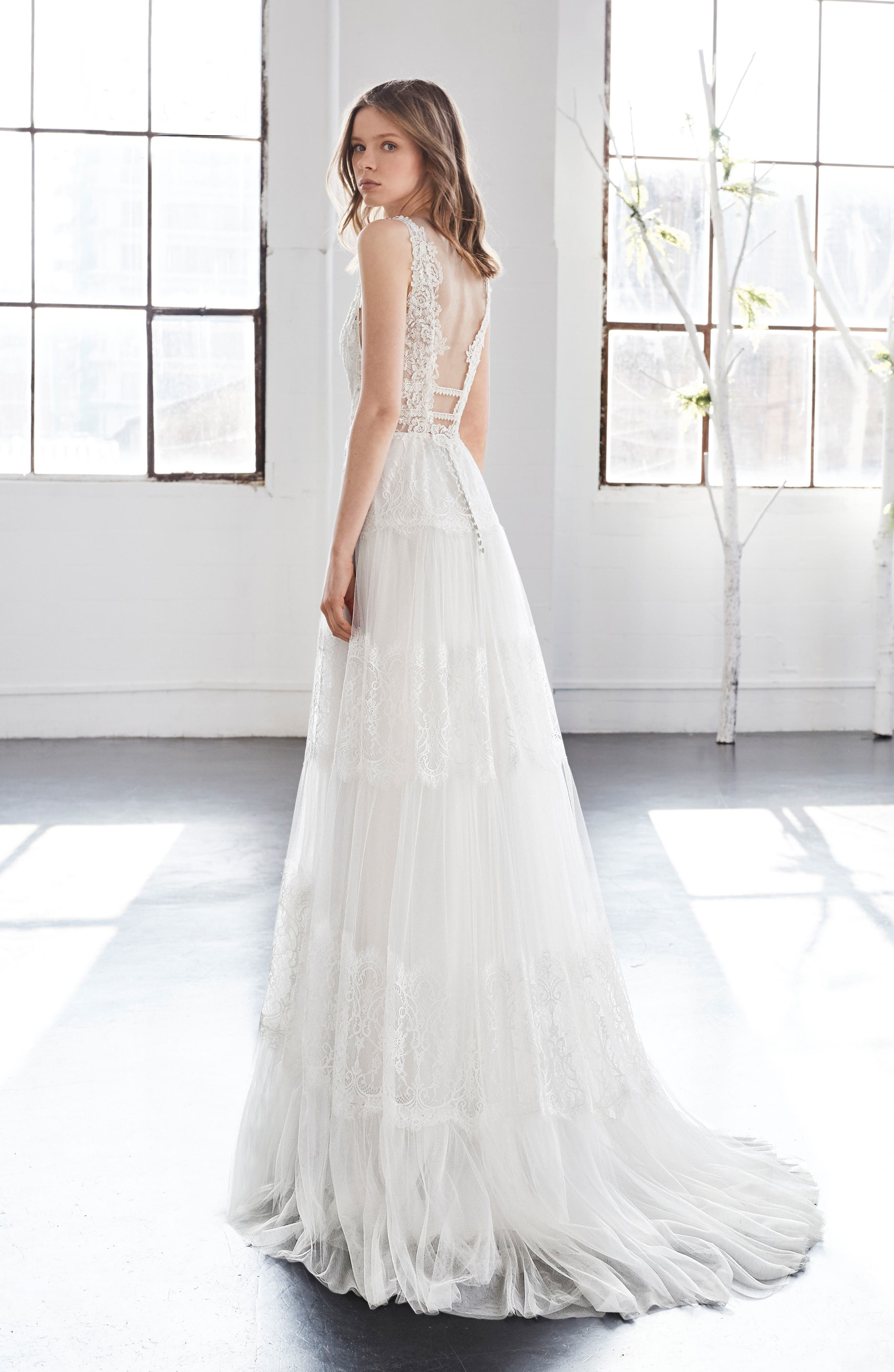 Inmaculada García Olivinia Lace A-Line Gown,                             Alternate thumbnail 2, color,                             Ivory