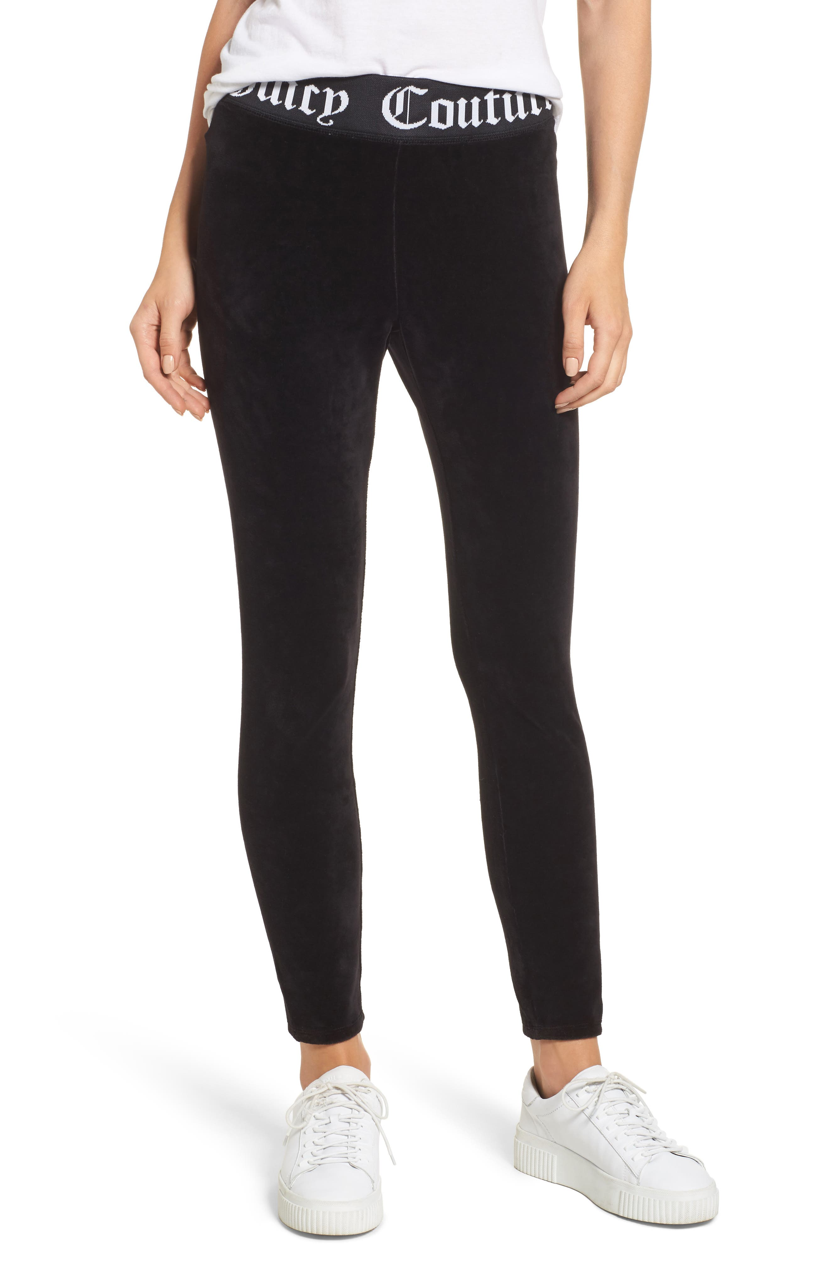Stretch Velour Leggings,                         Main,                         color, Pitch Black