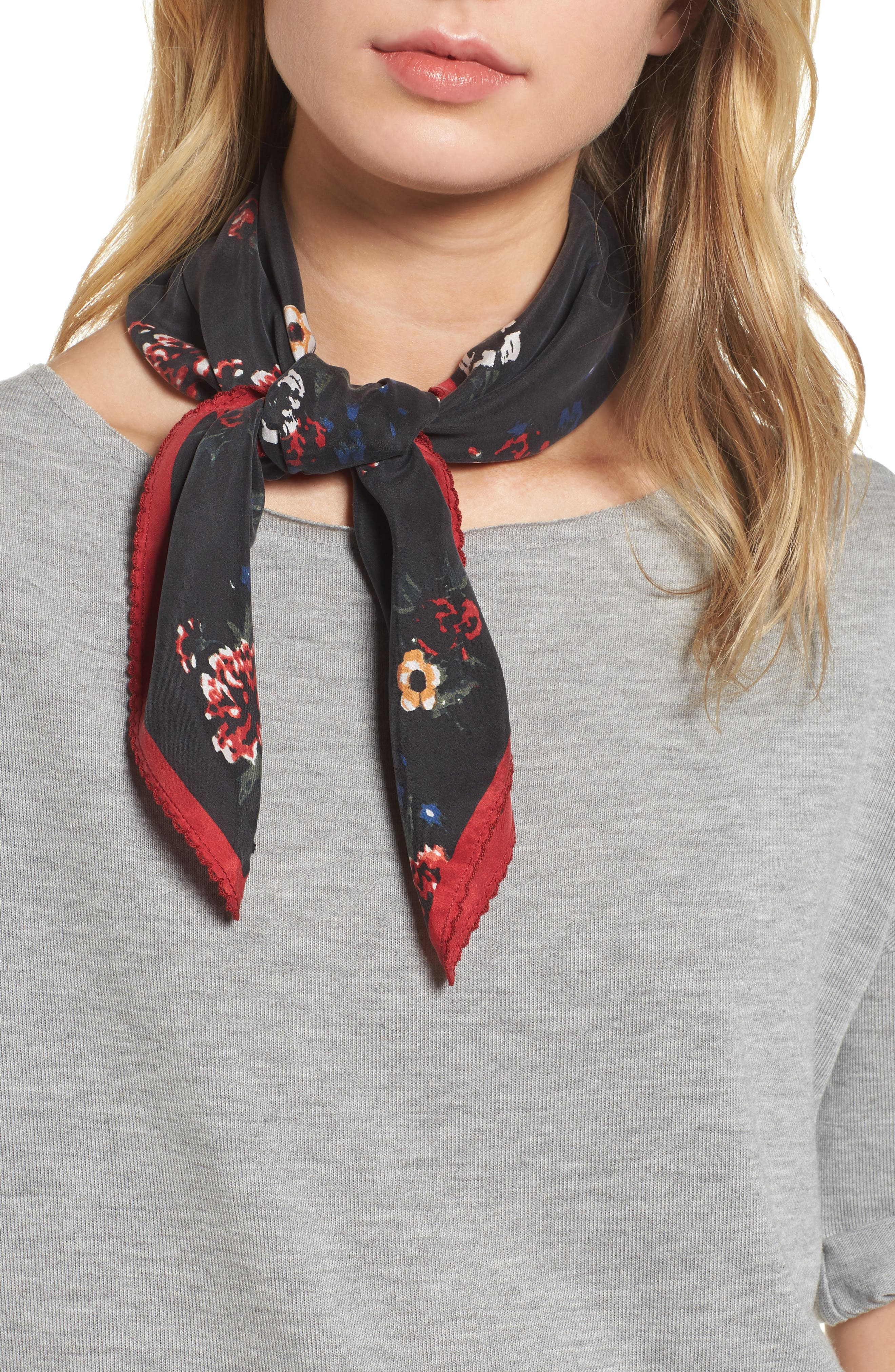 Main Image - Treasure & Bond x Something Navy Floral Bouquet Silk Square Scarf