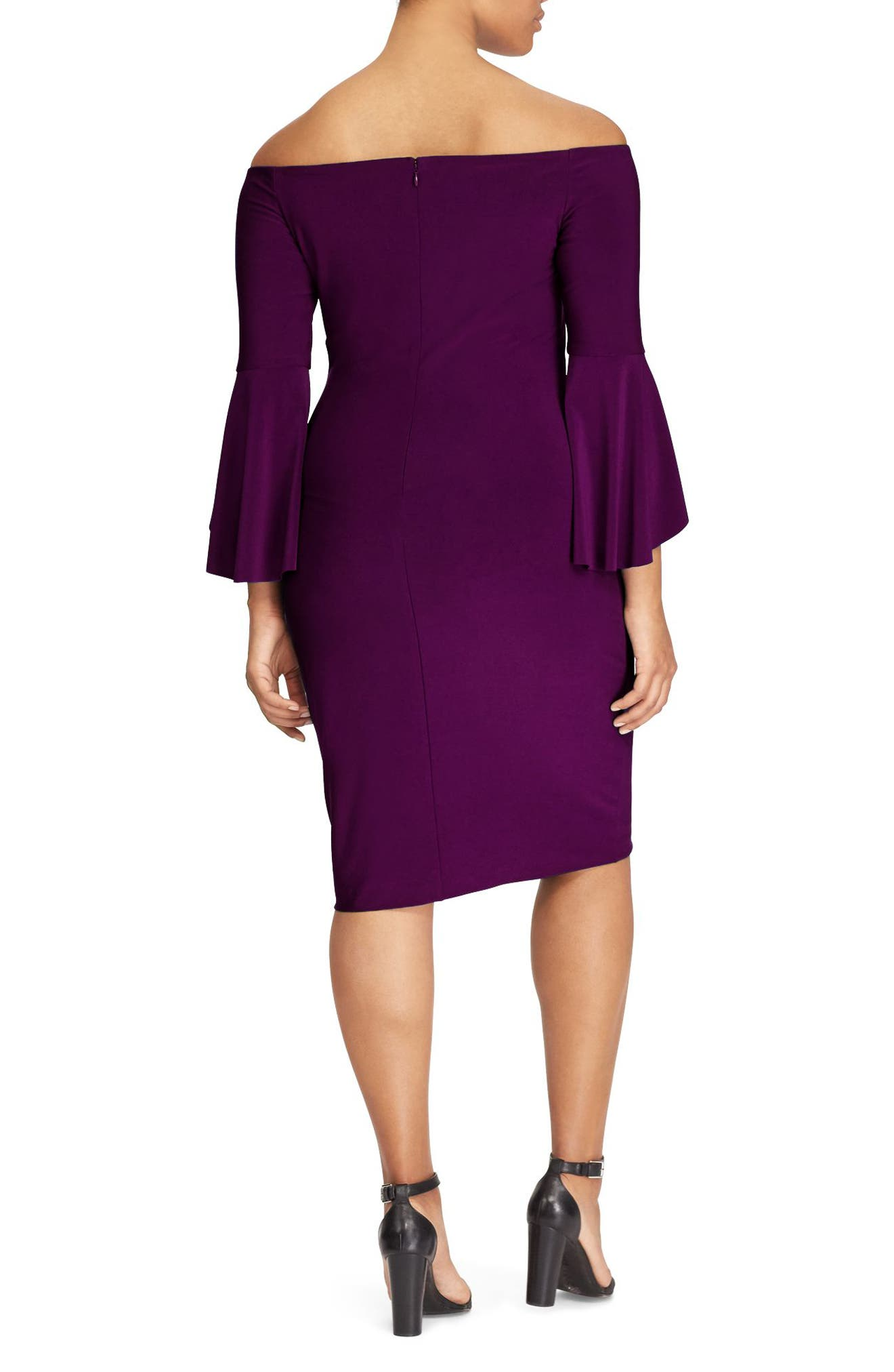 Alternate Image 2  - Lauren Ralph Lauren Bell Sleeve Sheath Dress (Plus Size)