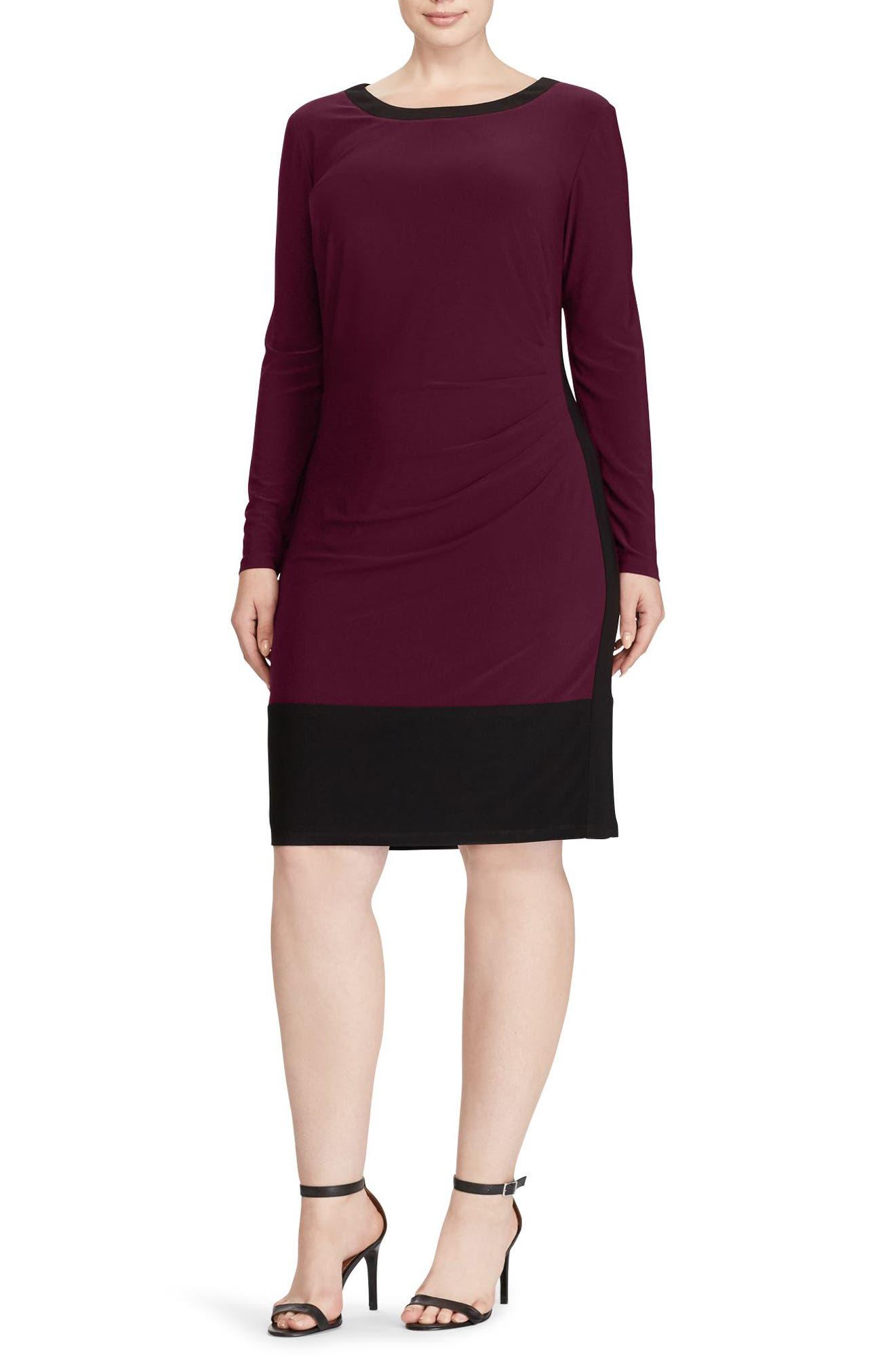 Colorblock Sheath Dress,                             Main thumbnail 1, color,                             Rioja-Black