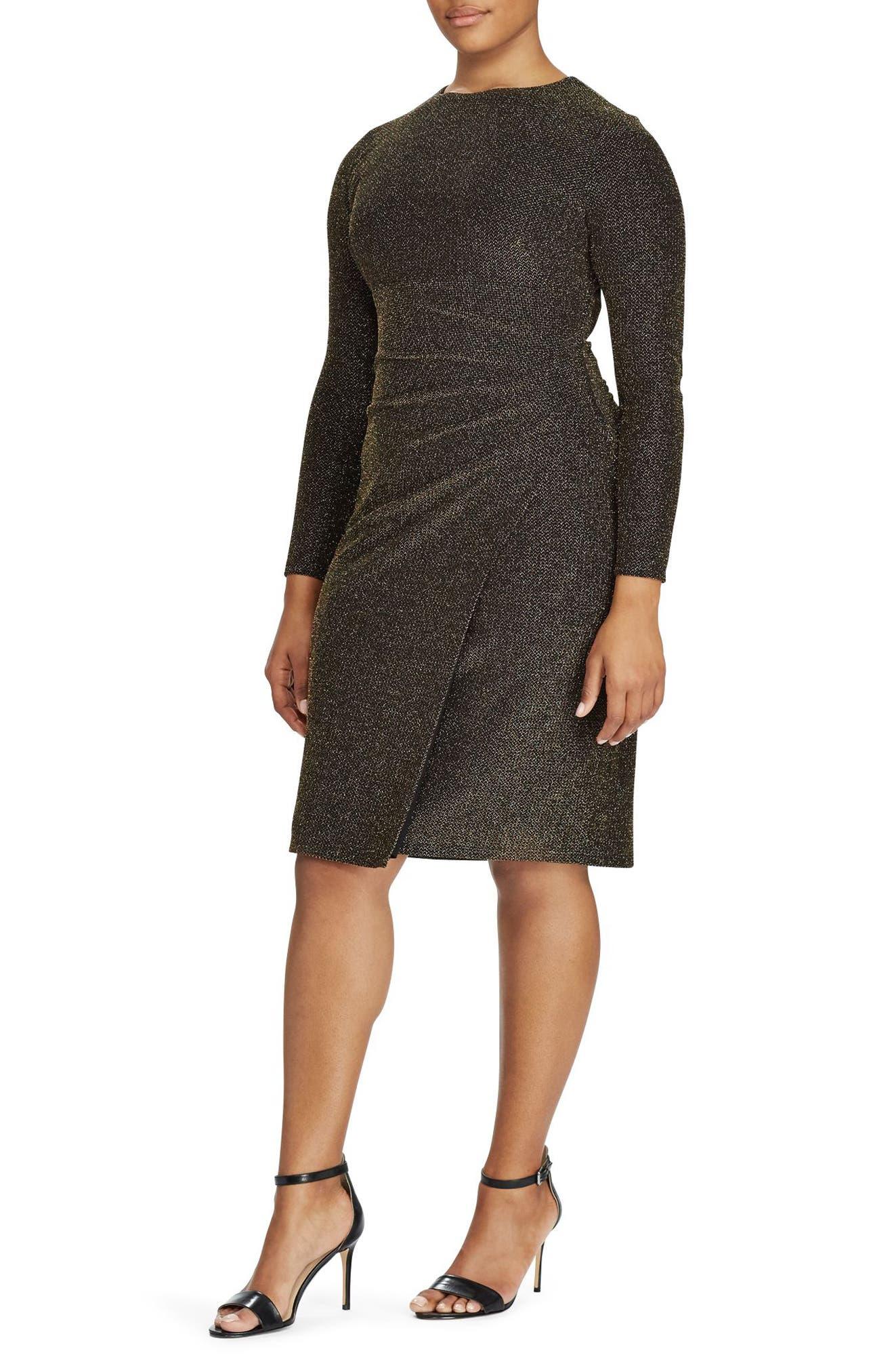 Metallic Knit Faux Wrap Dress,                             Main thumbnail 1, color,                             Black-Gold