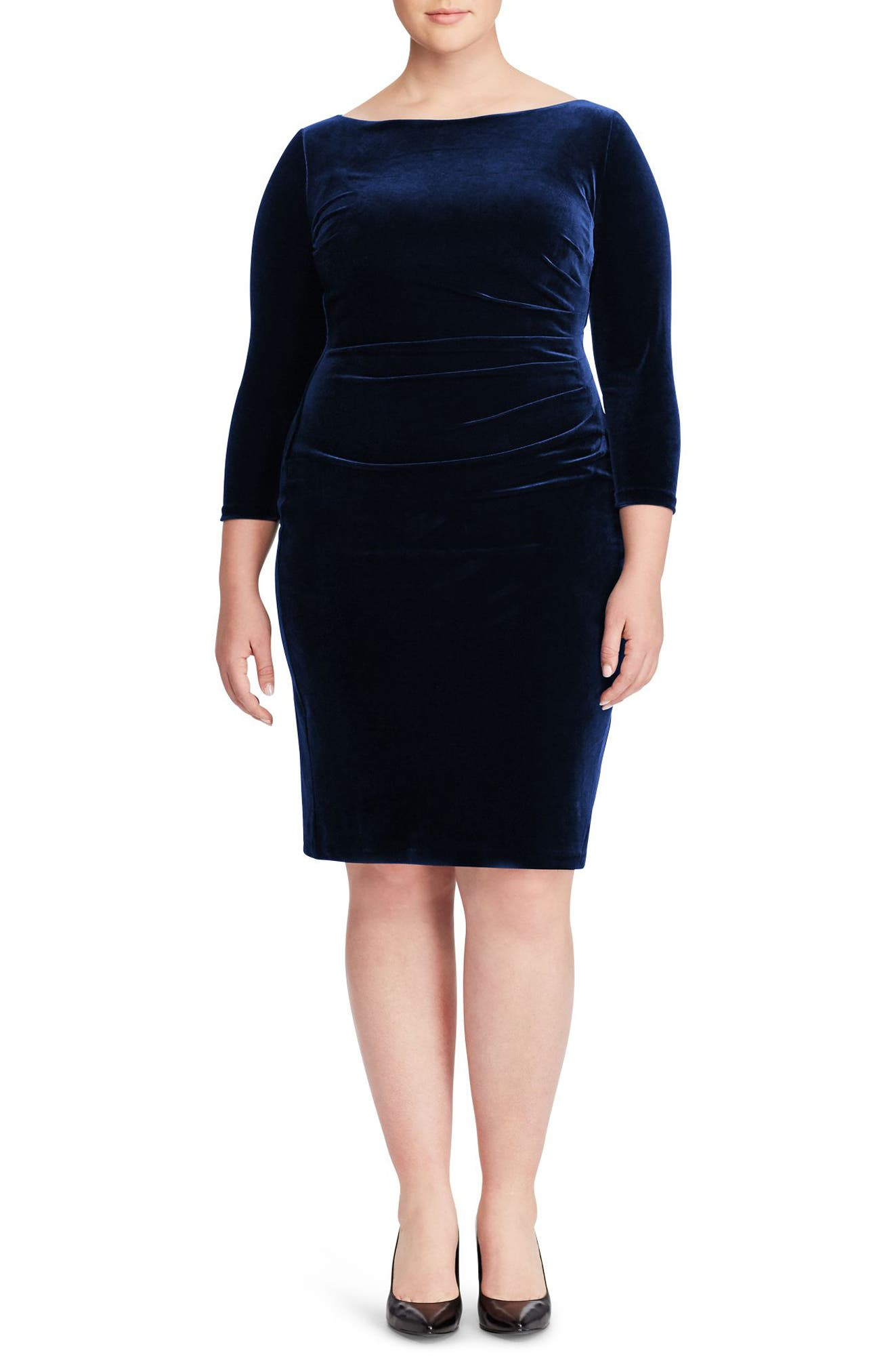 Alternate Image 1 Selected - Ralph Lauren Stretch Velvet Sheath Dress (Plus Size)